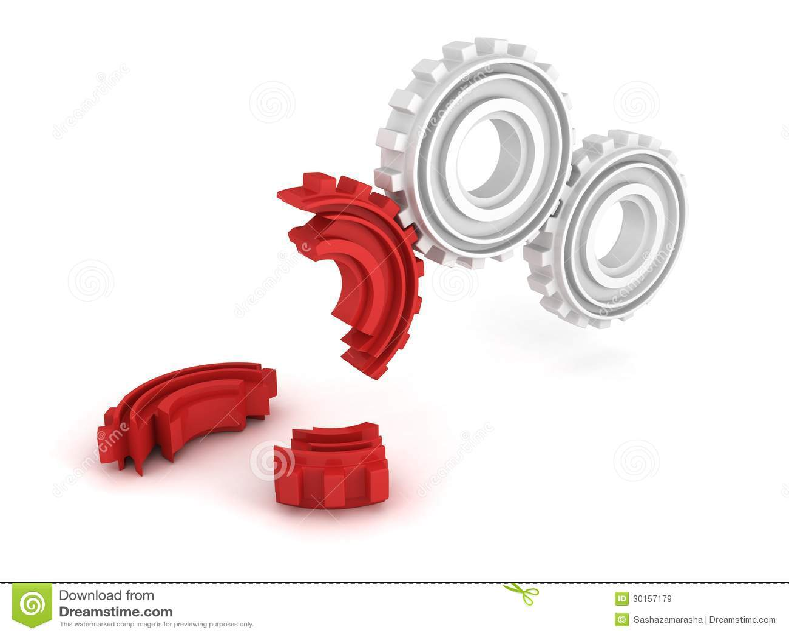Broken Red Gear On White Background. Team Crisis Concept ...