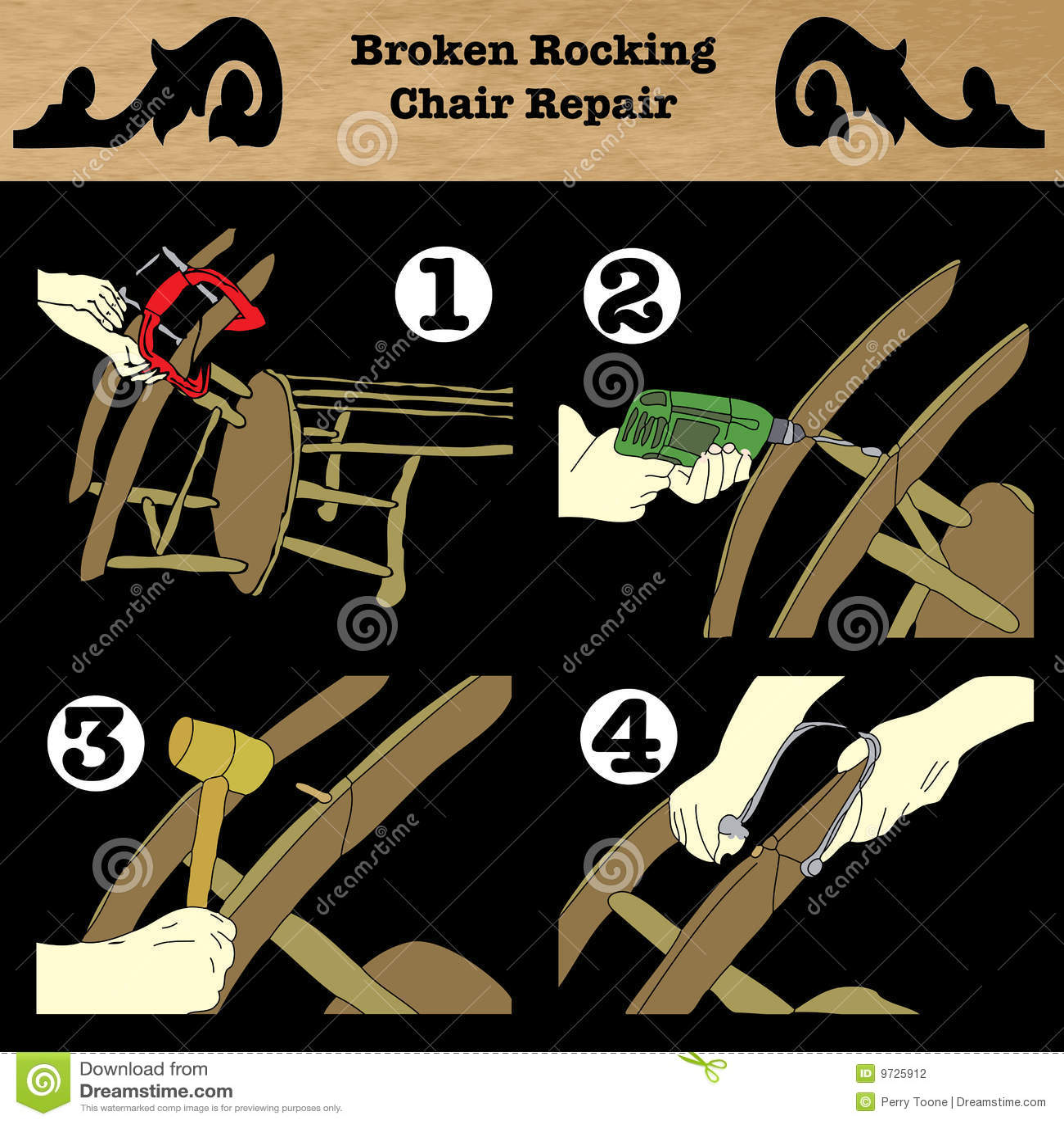 Broken Rocking Chair Repair Stock Illustration