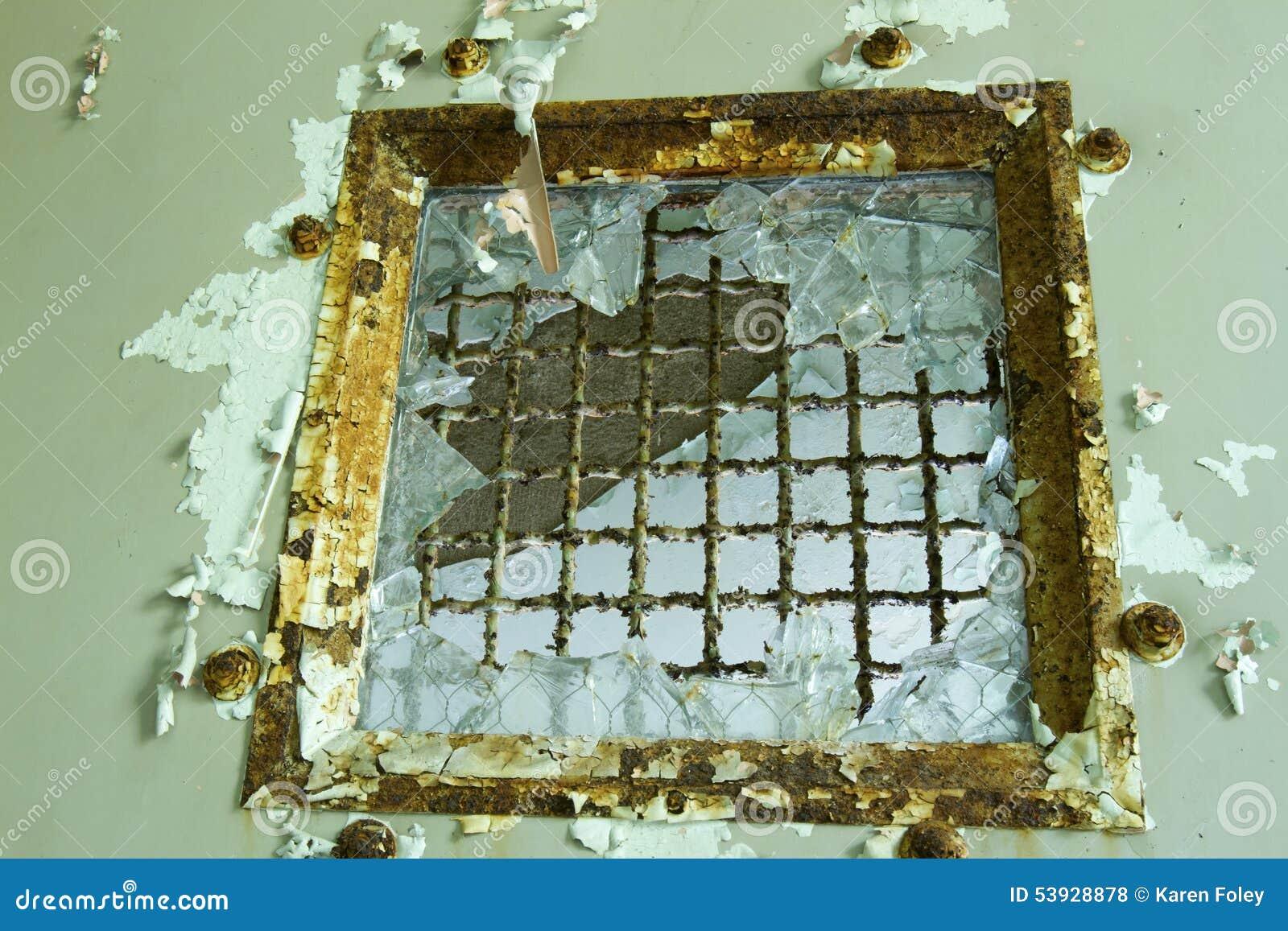 Broken Safety Glass In Door Stock Photo Image Of Hazard Entering