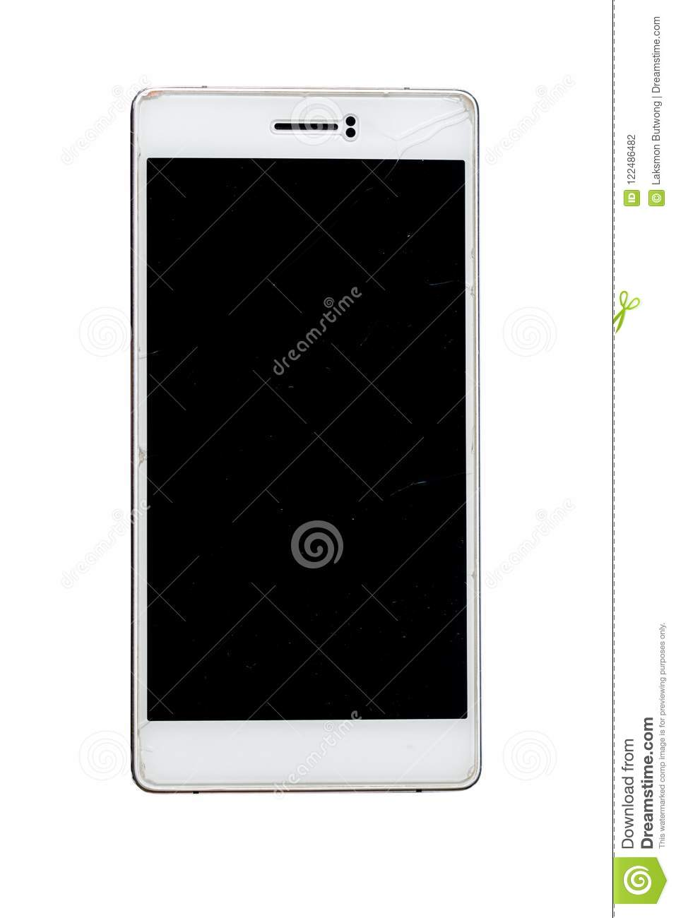 Broken screen of smartphone isolated on white background.