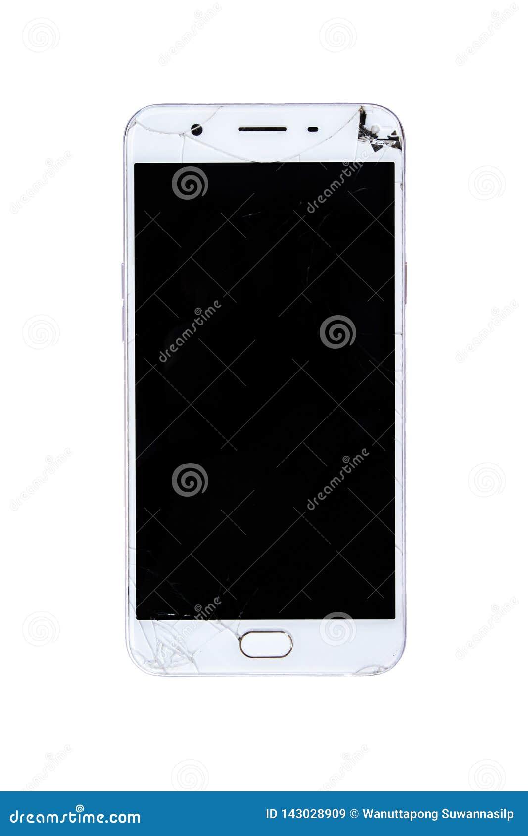Broken smart phone with cracked screen