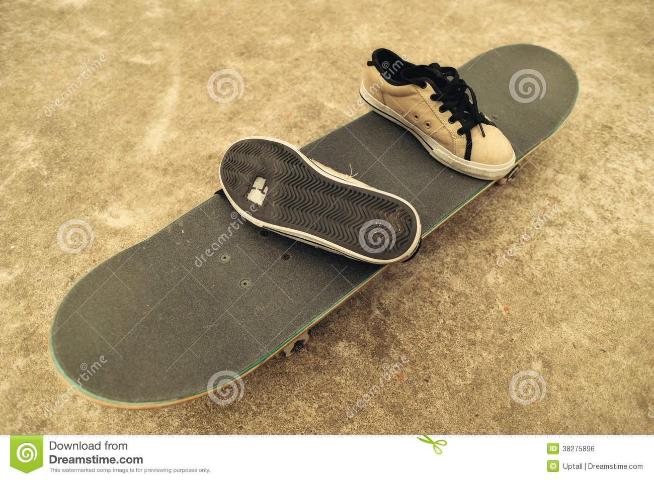 Broken sneakers on a skateboard royalty free stock image image
