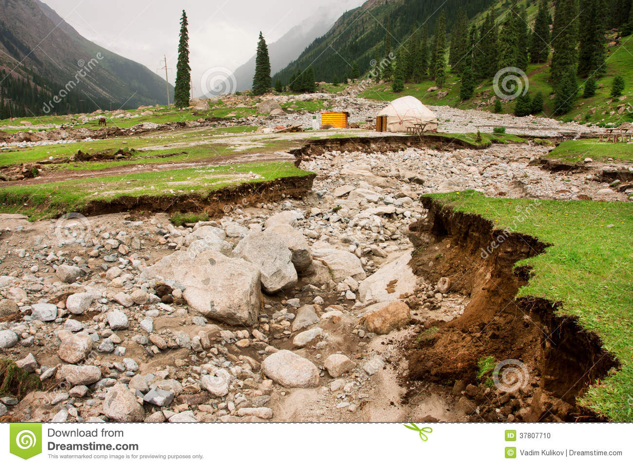 Broken soil by earthquake and lonely dwelling of a farmer of Central Asia