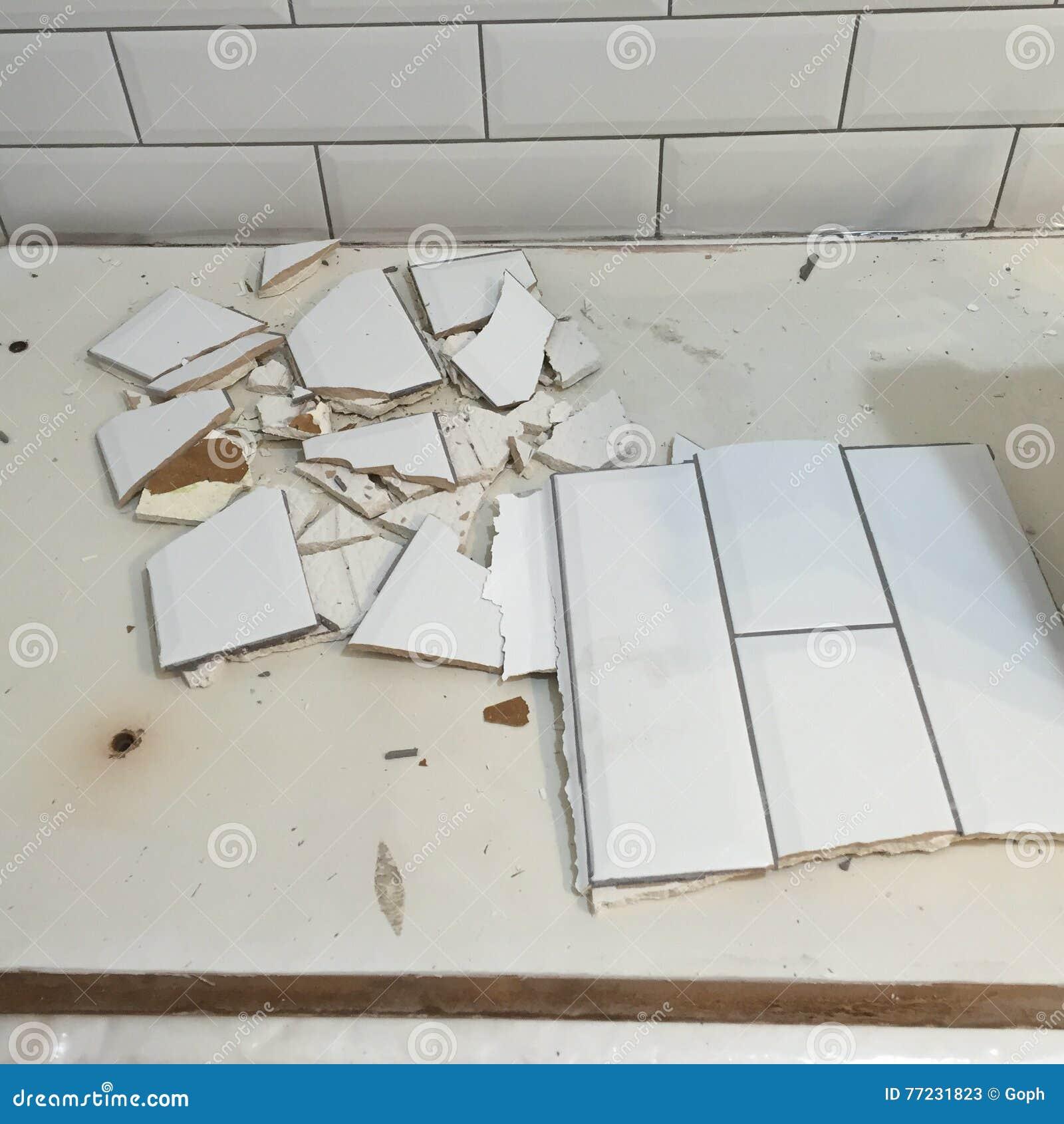Broken tiles fix stock image. Image of wall, danger, bathroom - 77231823