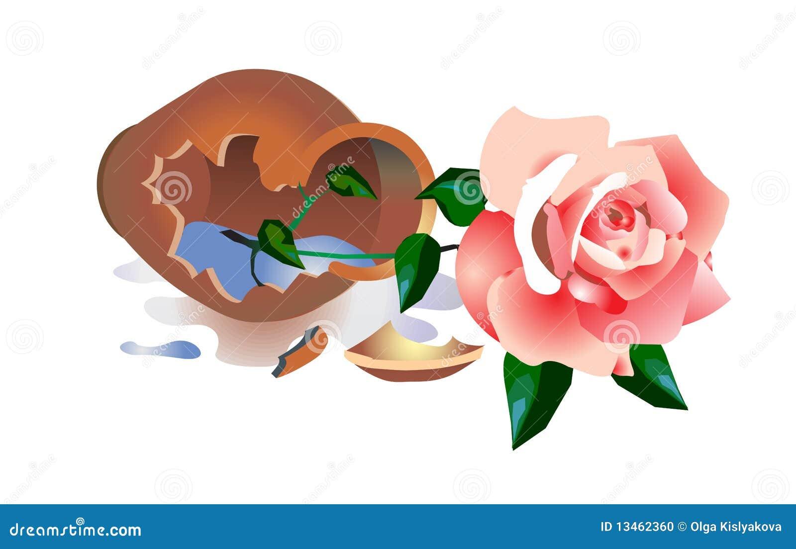 Broken Vase With A Rose Stock Illustration Illustration Of Broken 13462360