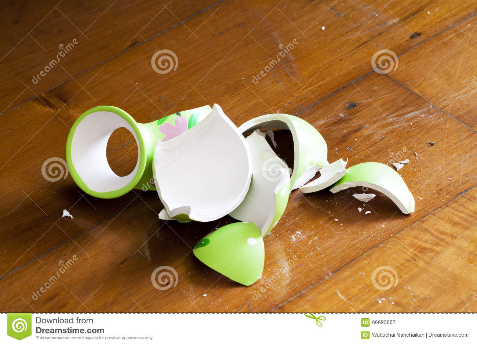 Broken Vase On Wooden Floor Stock Photo Image 66693662