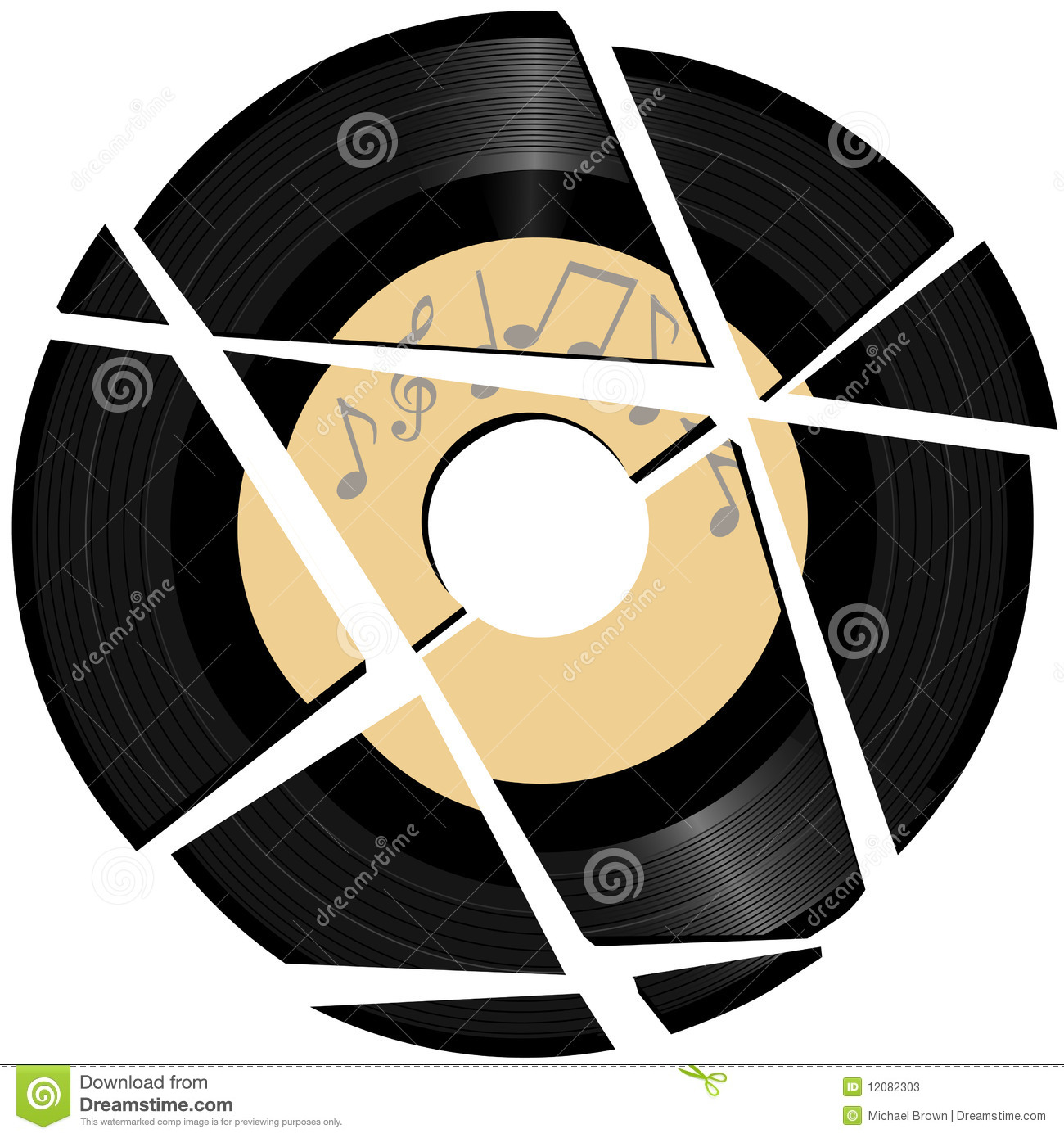 Broken Vinyl Record With Music Label Stock Vector - Illustration of ...