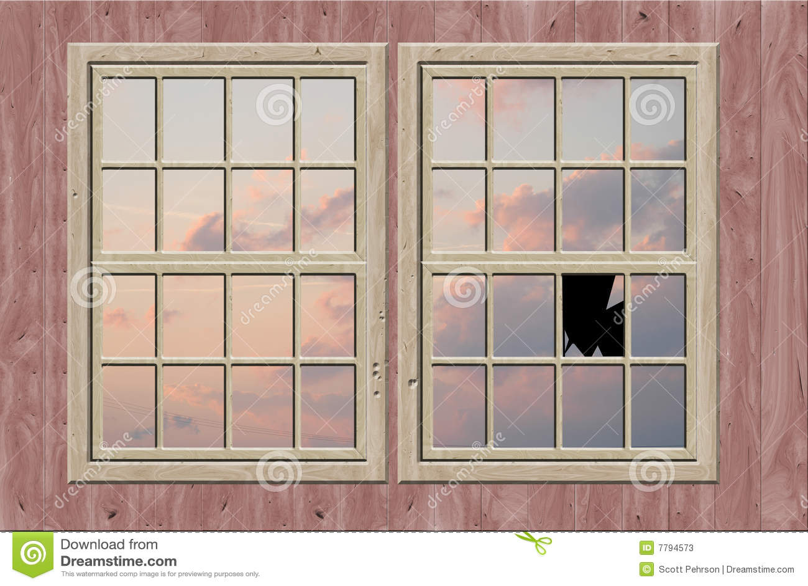 Broken Window Stock Illustration Image Of Drawing