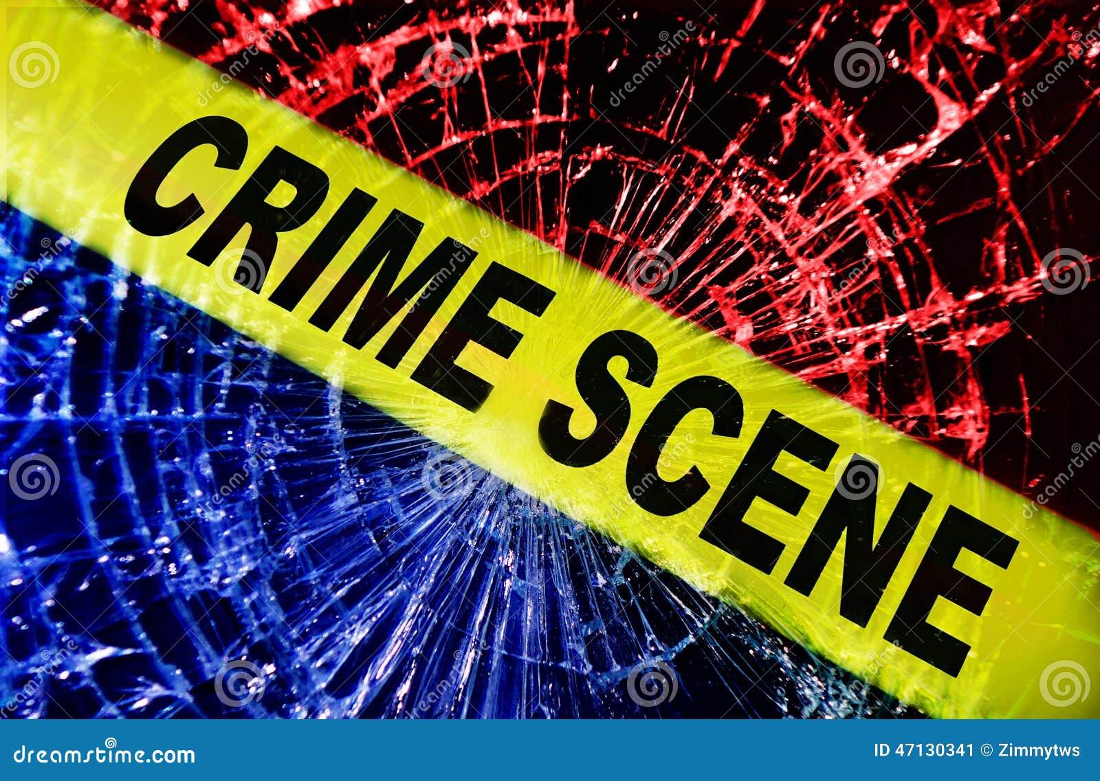 broken window crime scene stock photo