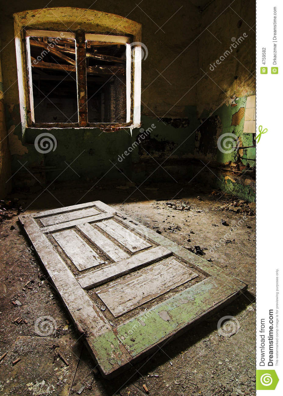 Broken Window And Old Door On The Floor Stock Photography