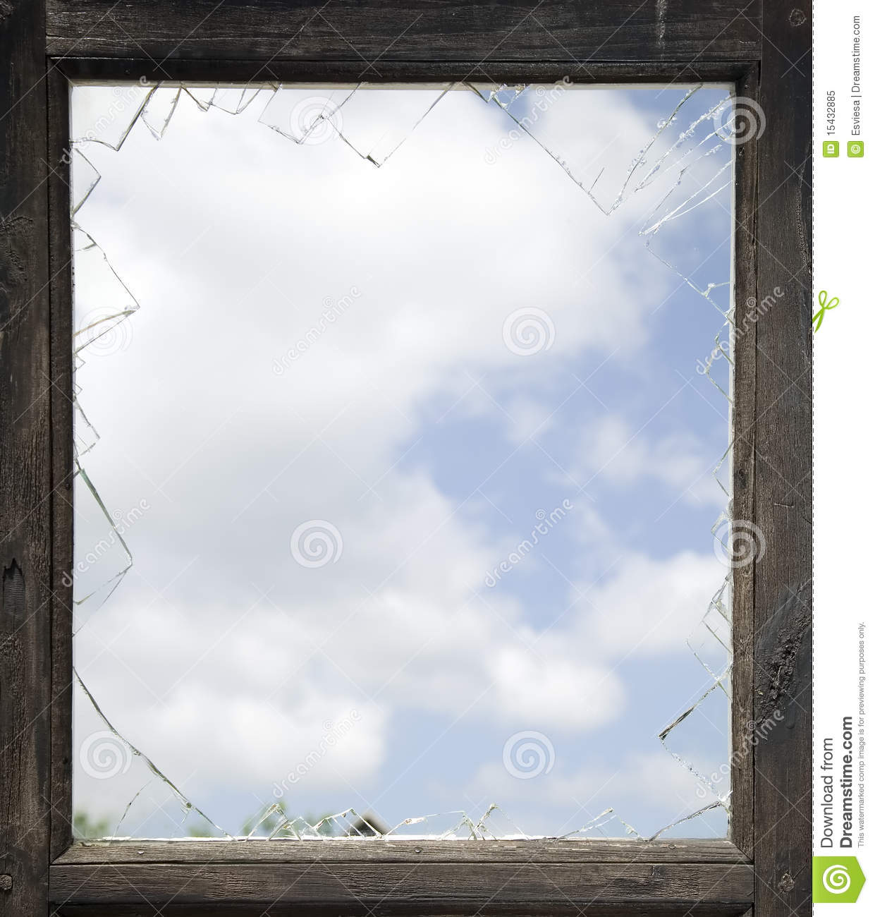 Broken Window With Old Wooden Frame Stock Image - Image of wood ...