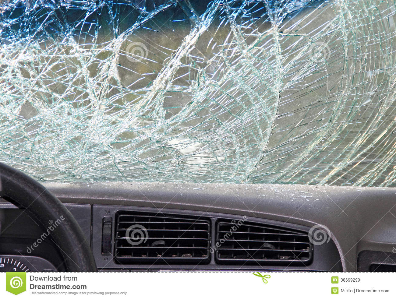 Car Windshield Cover >> Broken Windshield Of A Car, Inside View Stock Image ...
