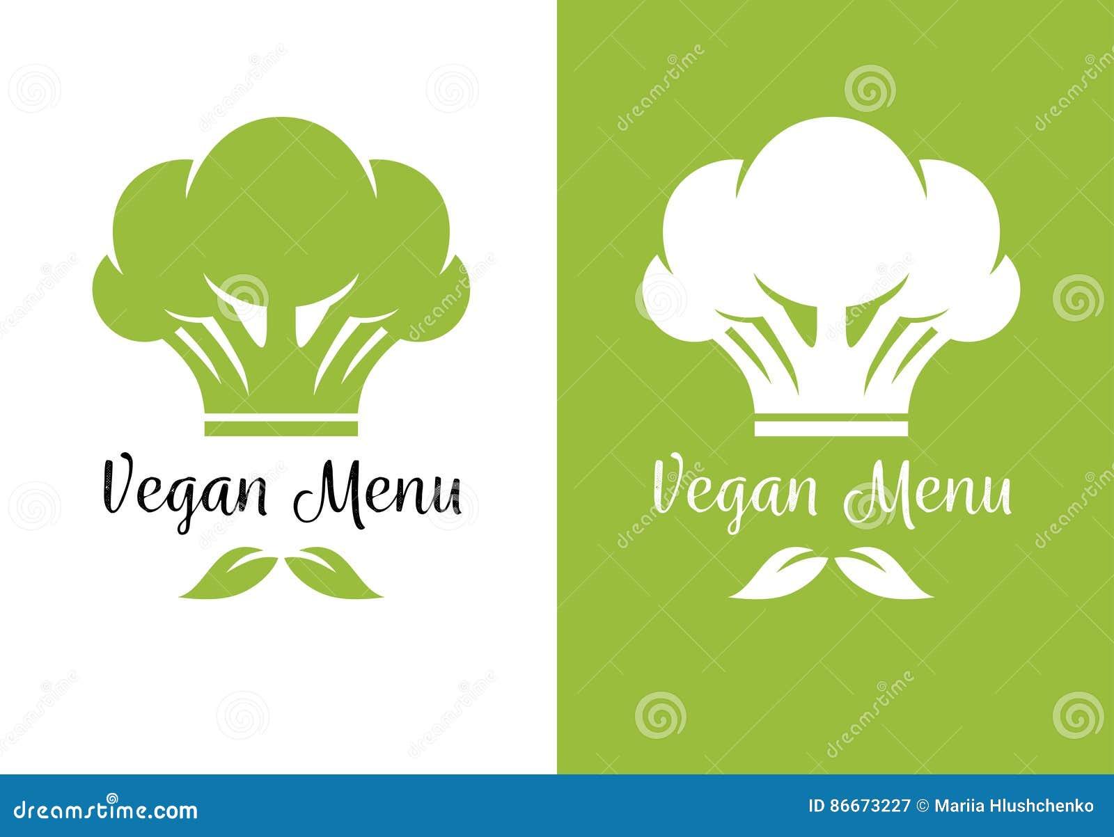 Brokułu szefa kuchni kucharza kapelusz dla jarskiego restauracyjnego menu