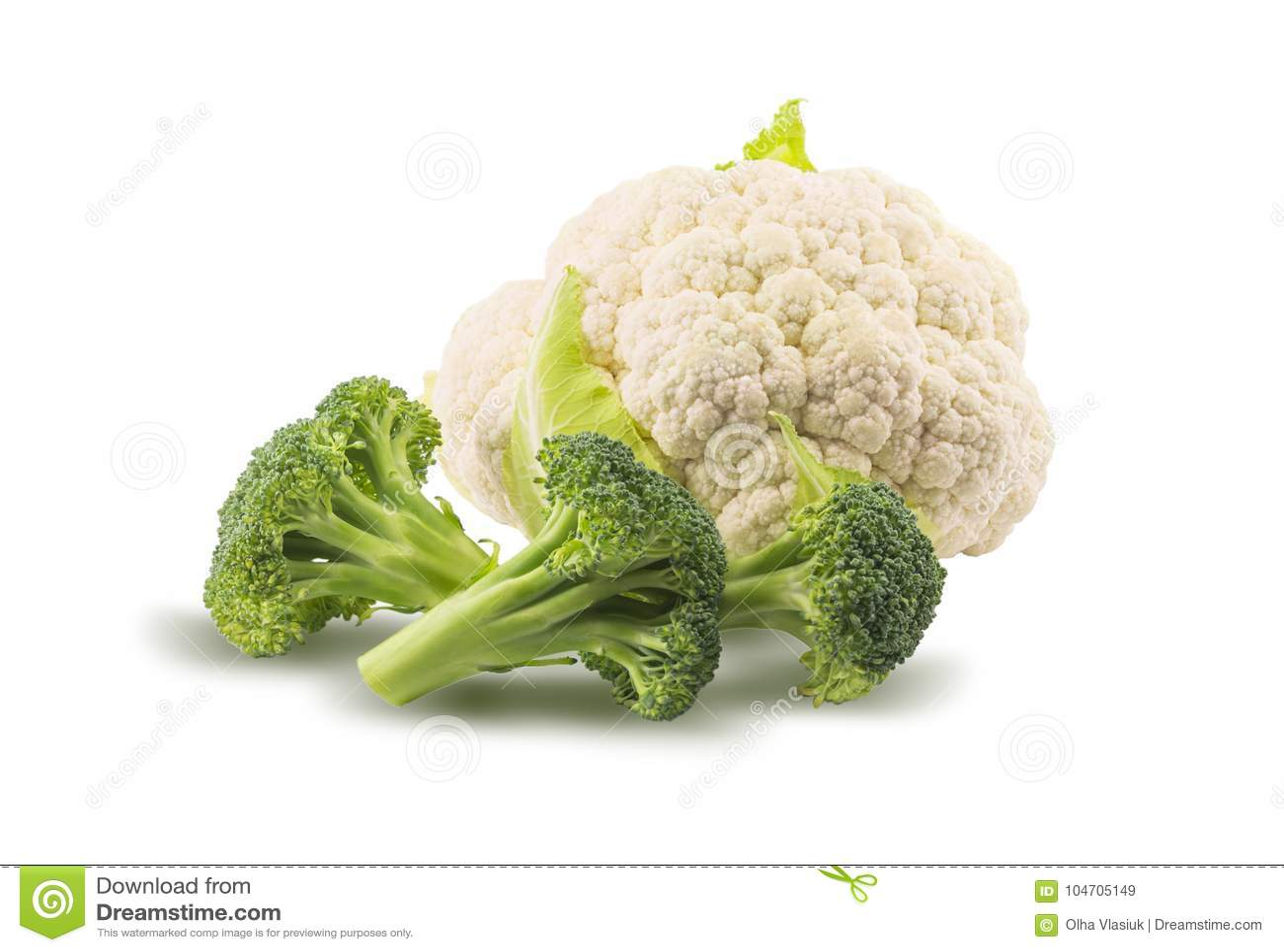 Brokuły i kalafior odizolowywający na białym tle