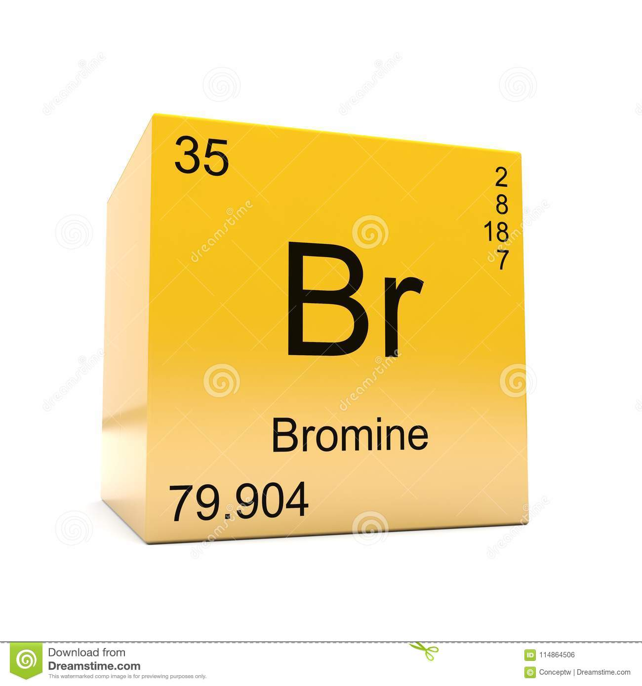 Bromine Chemical Element Symbol From Periodic Table Stock