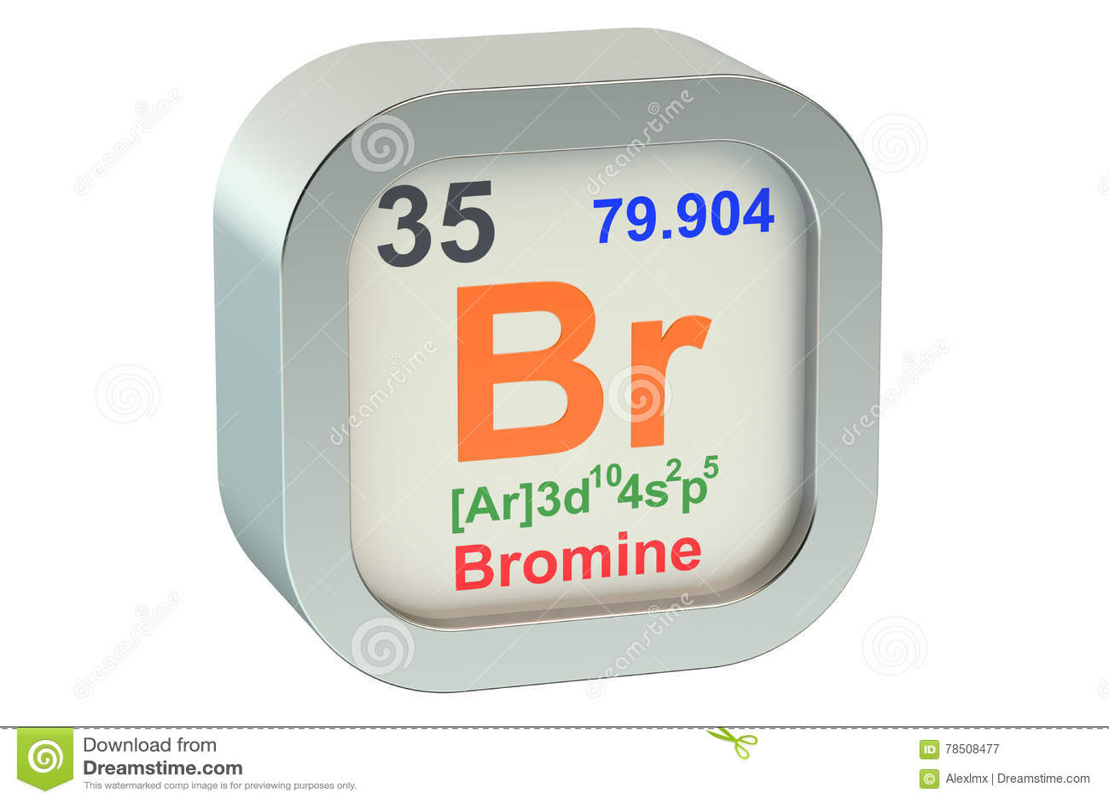 Bromine 3d Stock Illustration Illustration Of Number 78508477