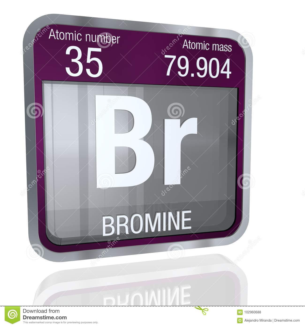 Bromine Symbol In Square Shape With Metallic Border And Transparent