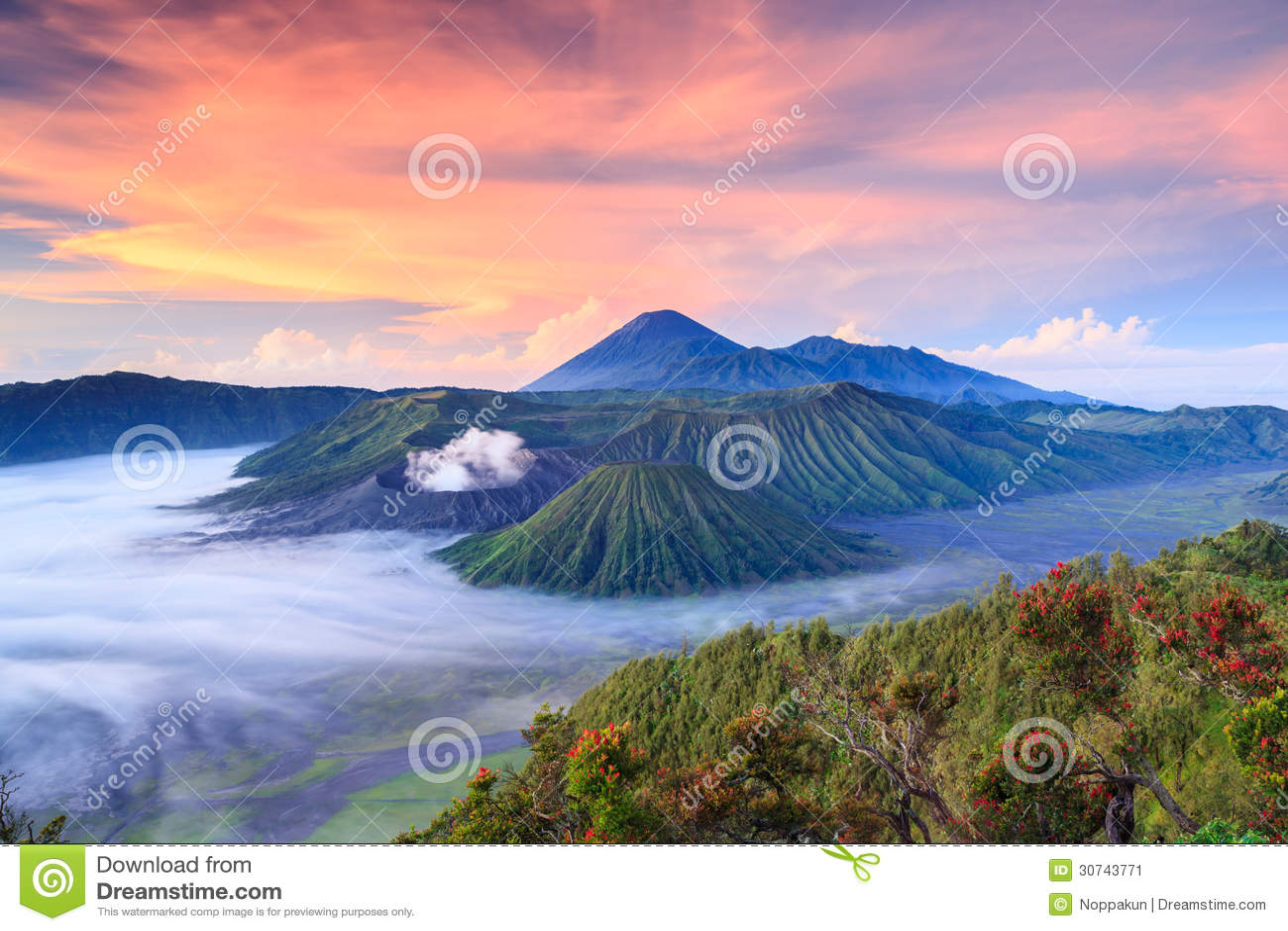 Bromo volcano at sunrise, East Java, , Indonesia
