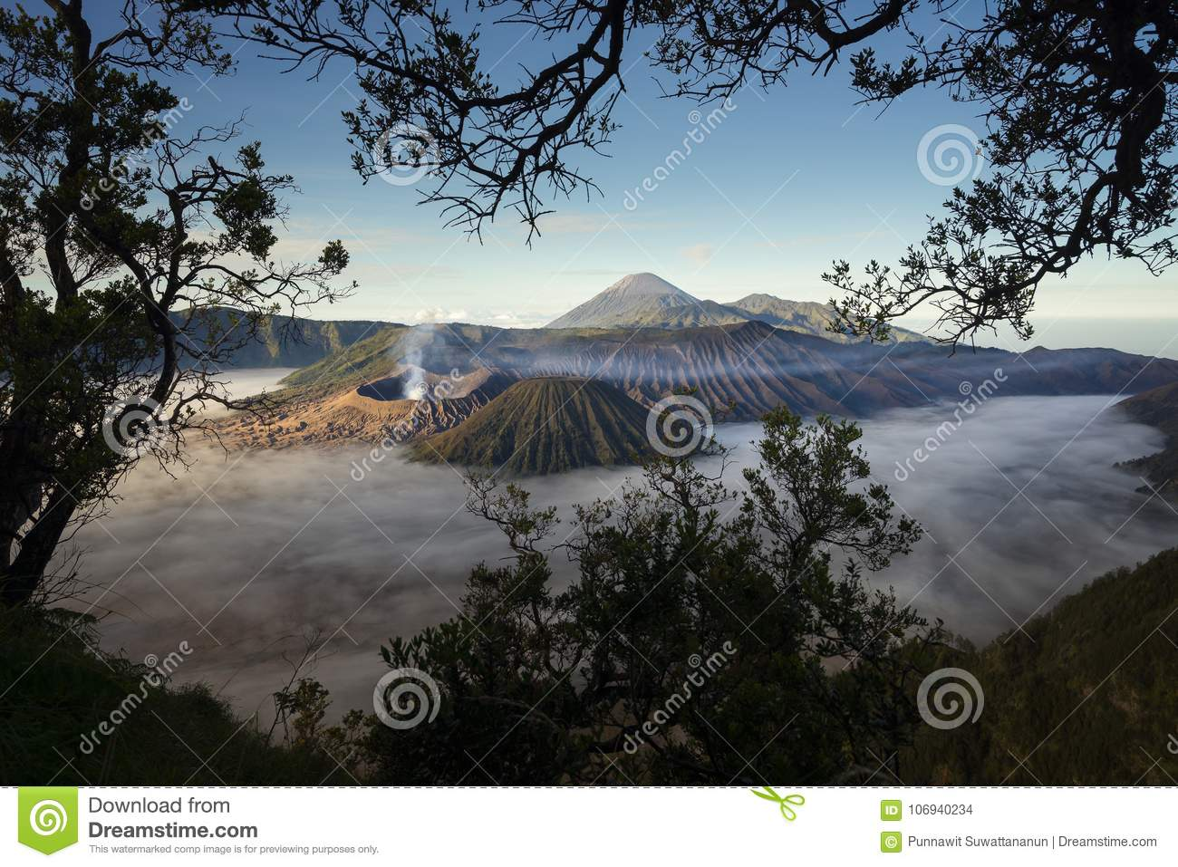 Bromo volcano mountain landscape in a morning with mist, East Ja