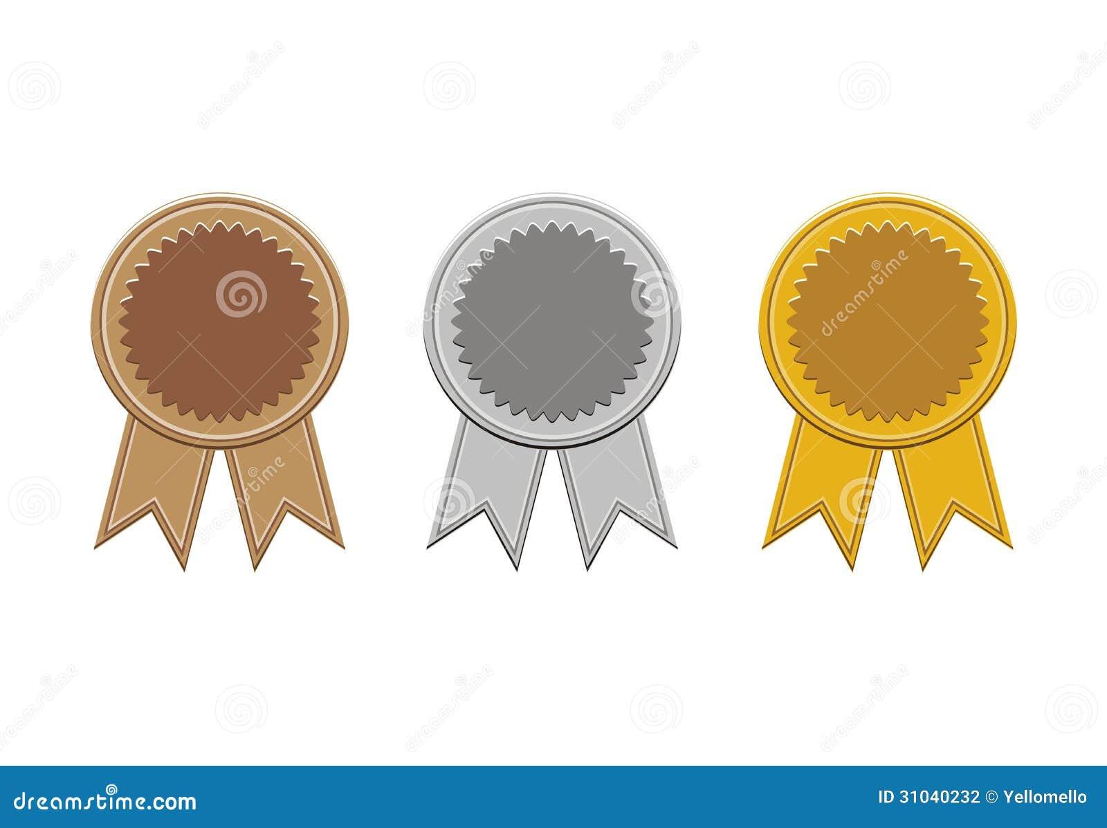 Bronce, plata, y medallas de oro