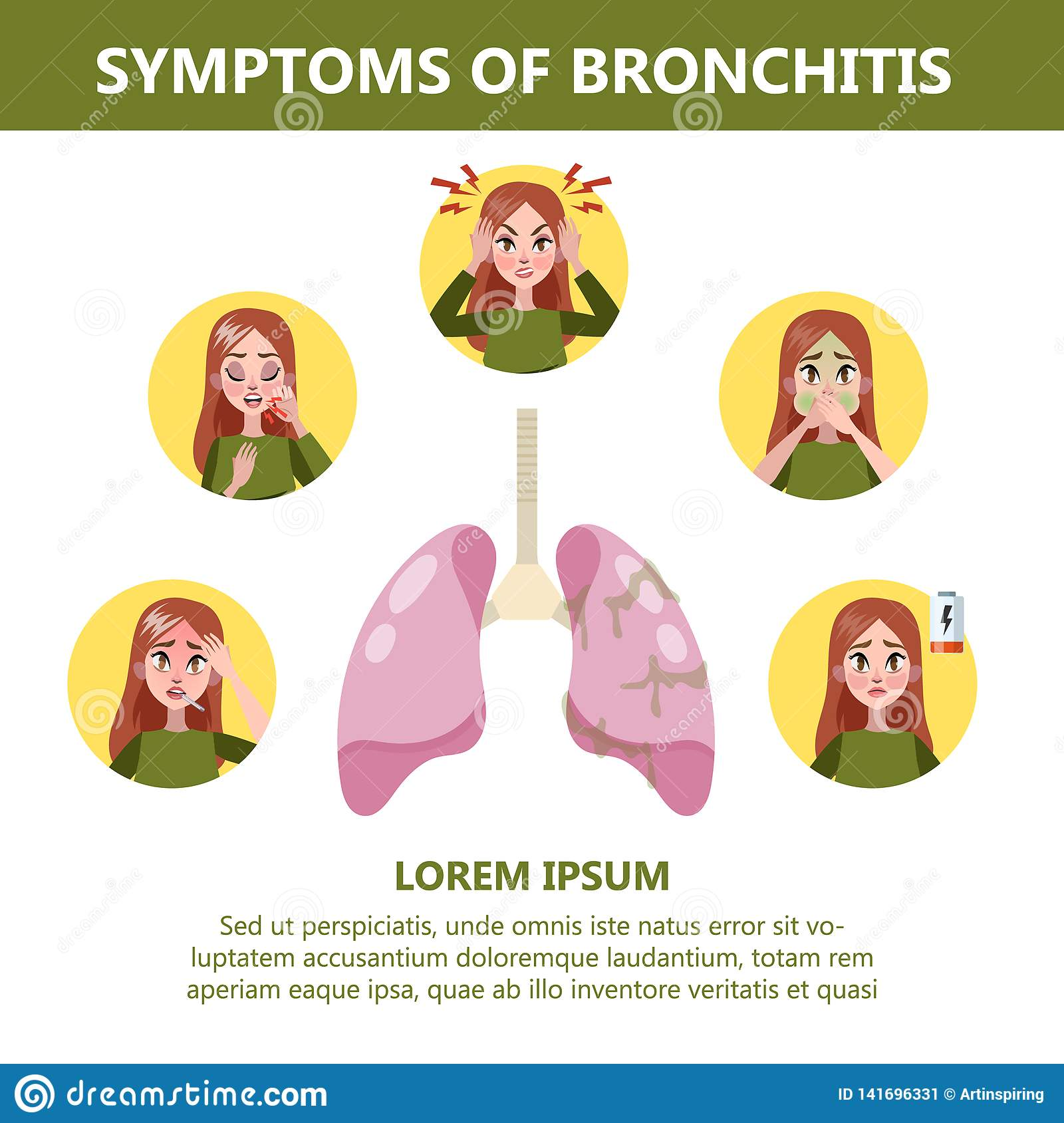 Bronchitis Symptoms Infographic  Chronic Disease  Cough