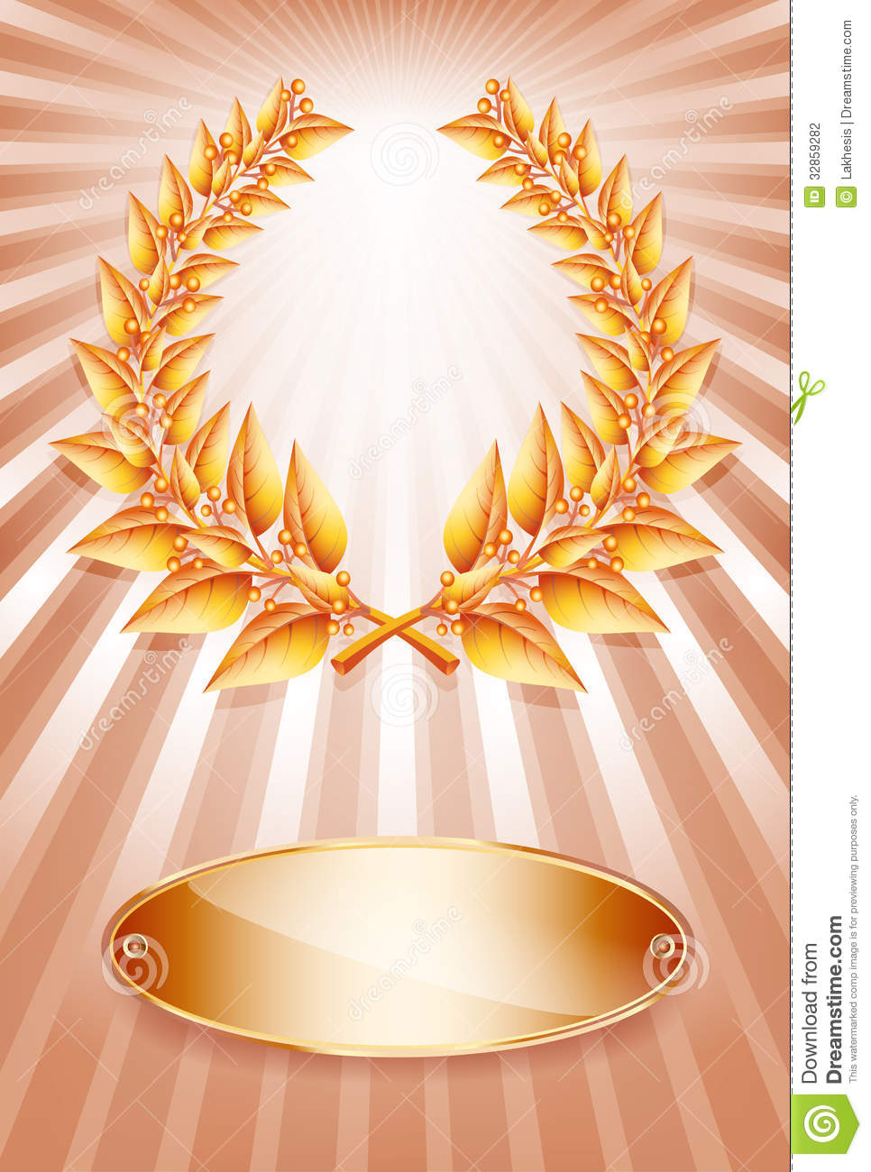 bronze award laurel wreath and label stock photography