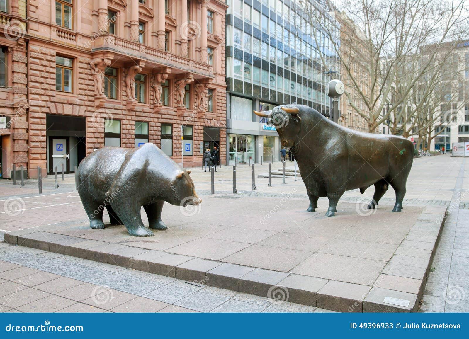 The Bronze Bear And Bull Statue In Frankfurt Editorial