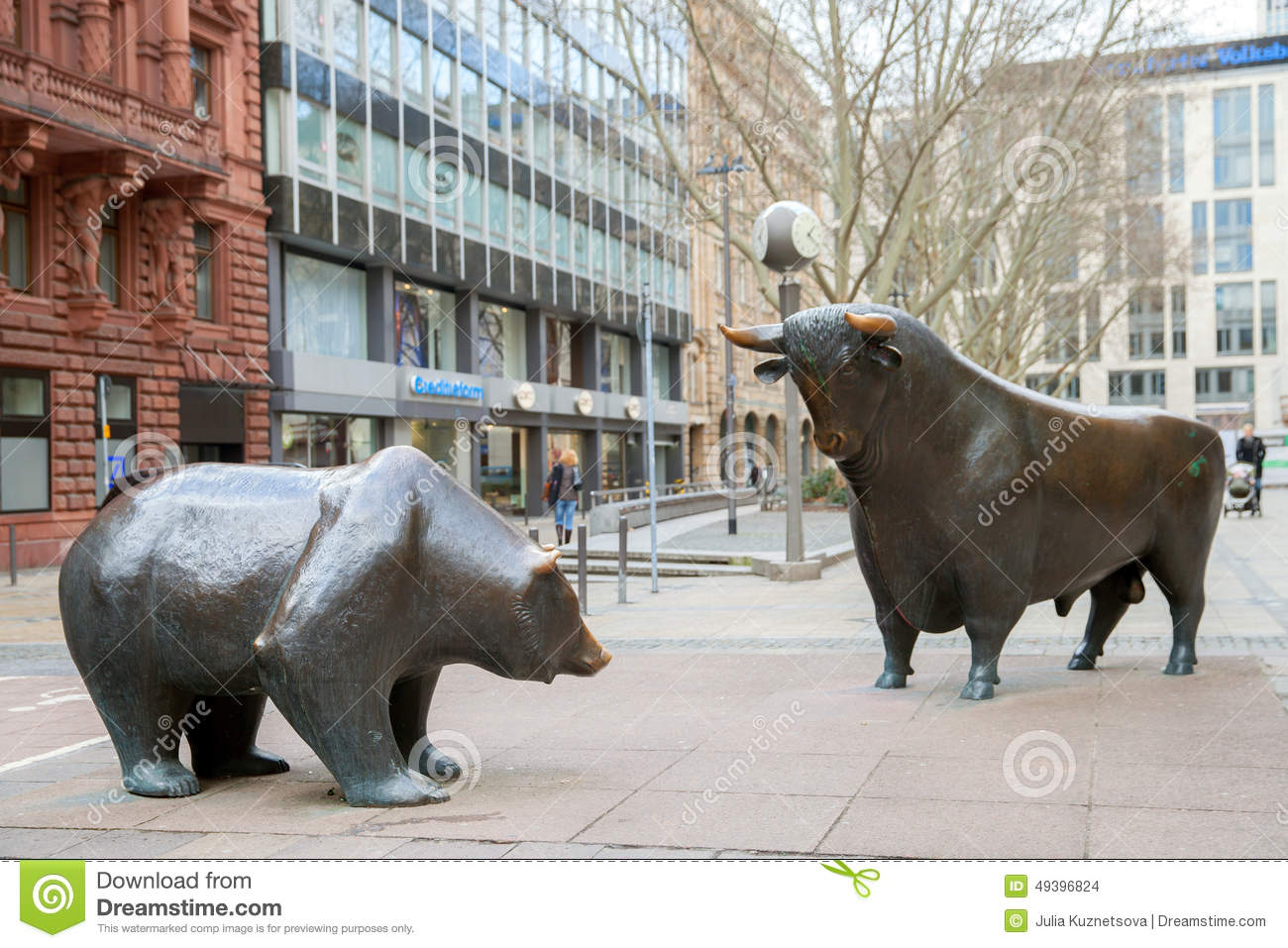 The Bronze Bull And Bear Statue Editorial Stock Image