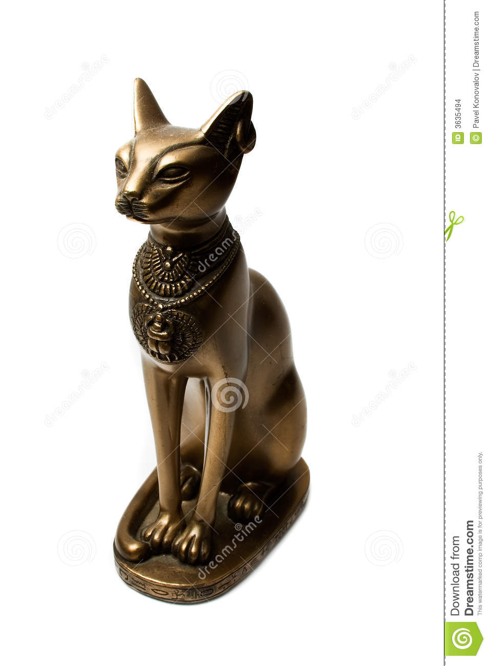 bronze figure of the egyptian cat stock images   image