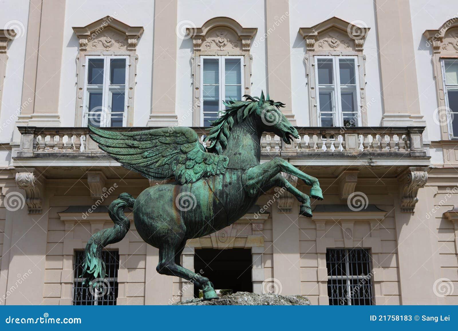 Bronze Horse Statue In Mirabell Gardens