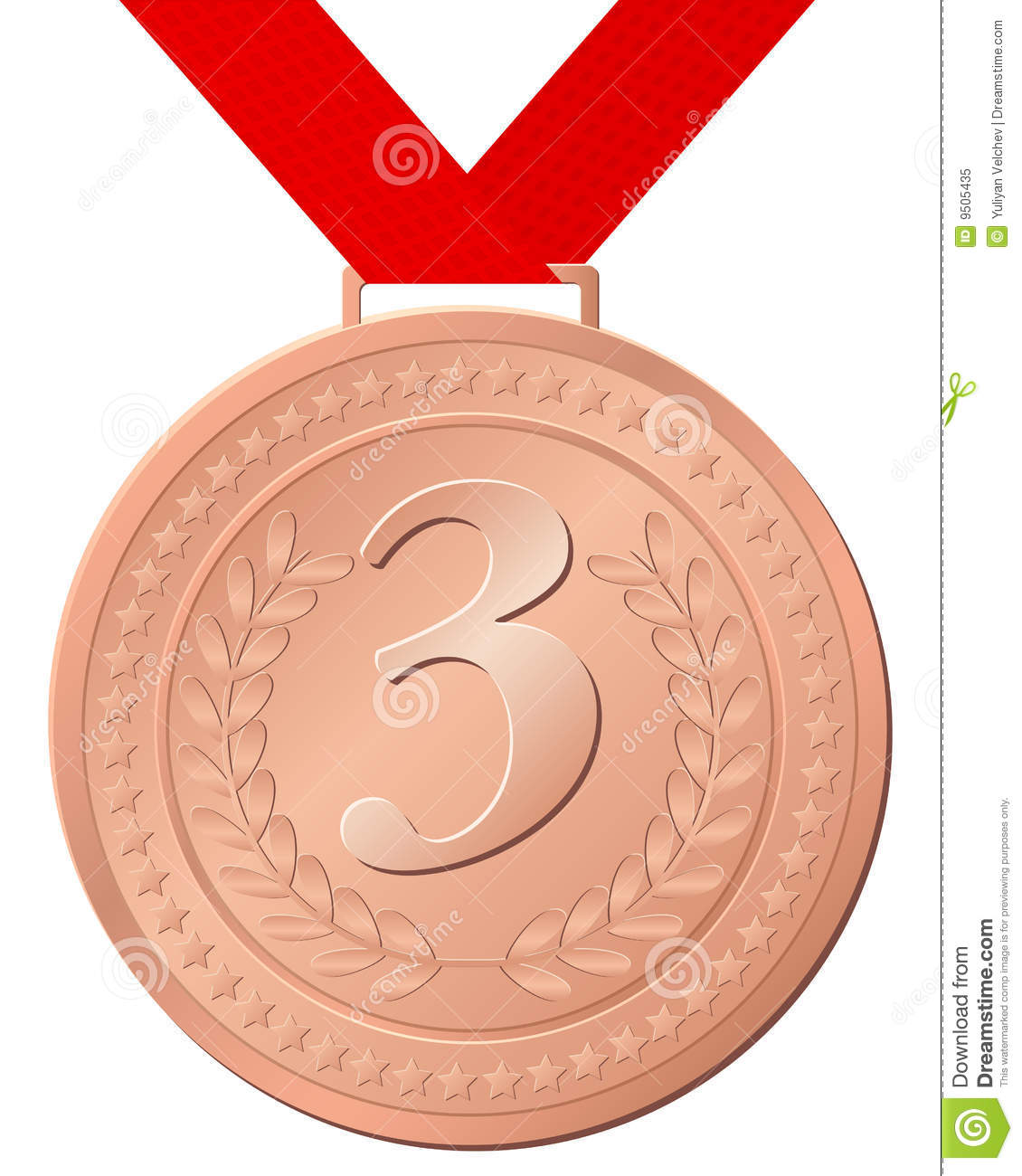 Bronze medal isolated on a white background. Vector illustration.