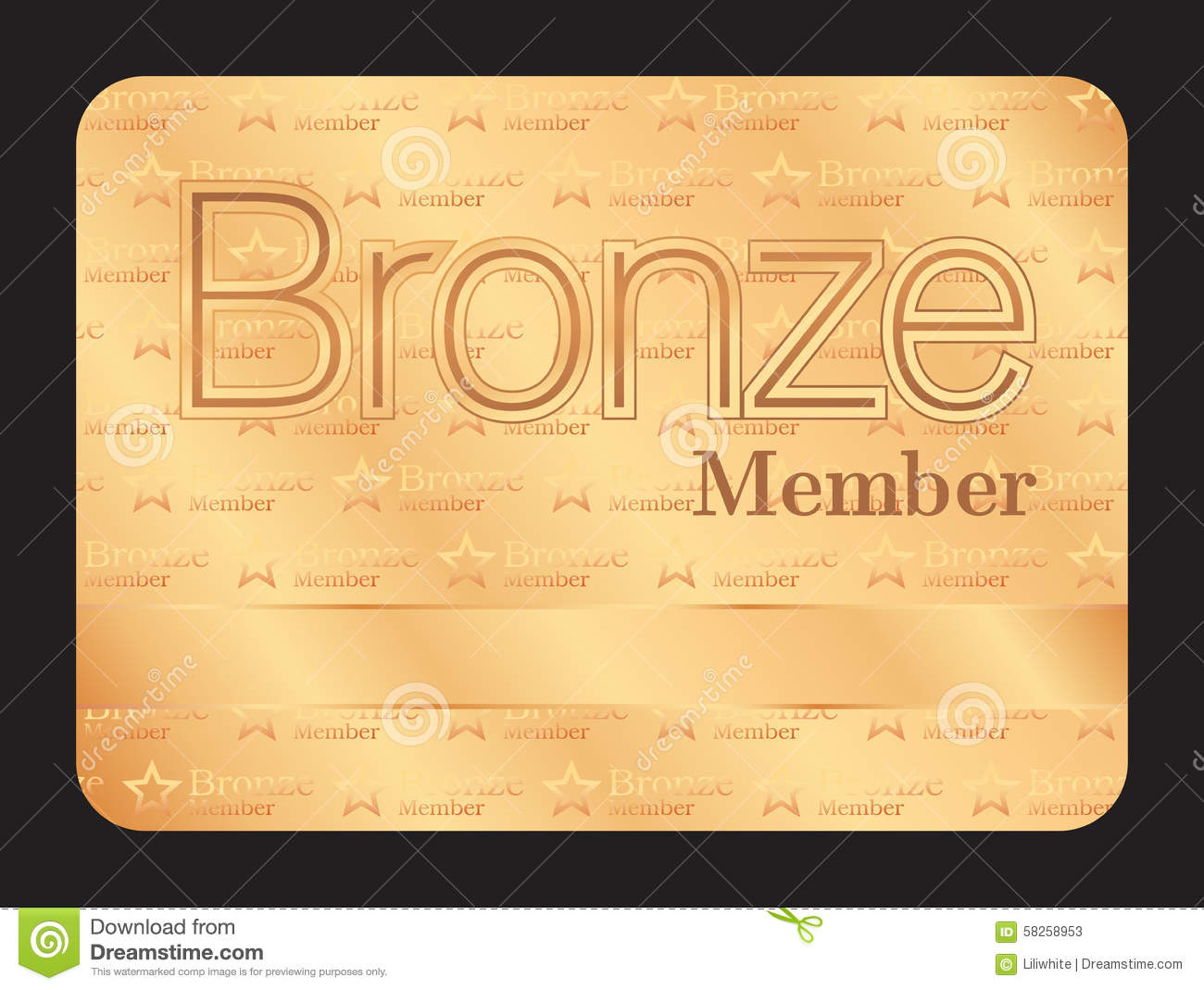 Bronze Member Club Card With Small Stars Pattern Stock