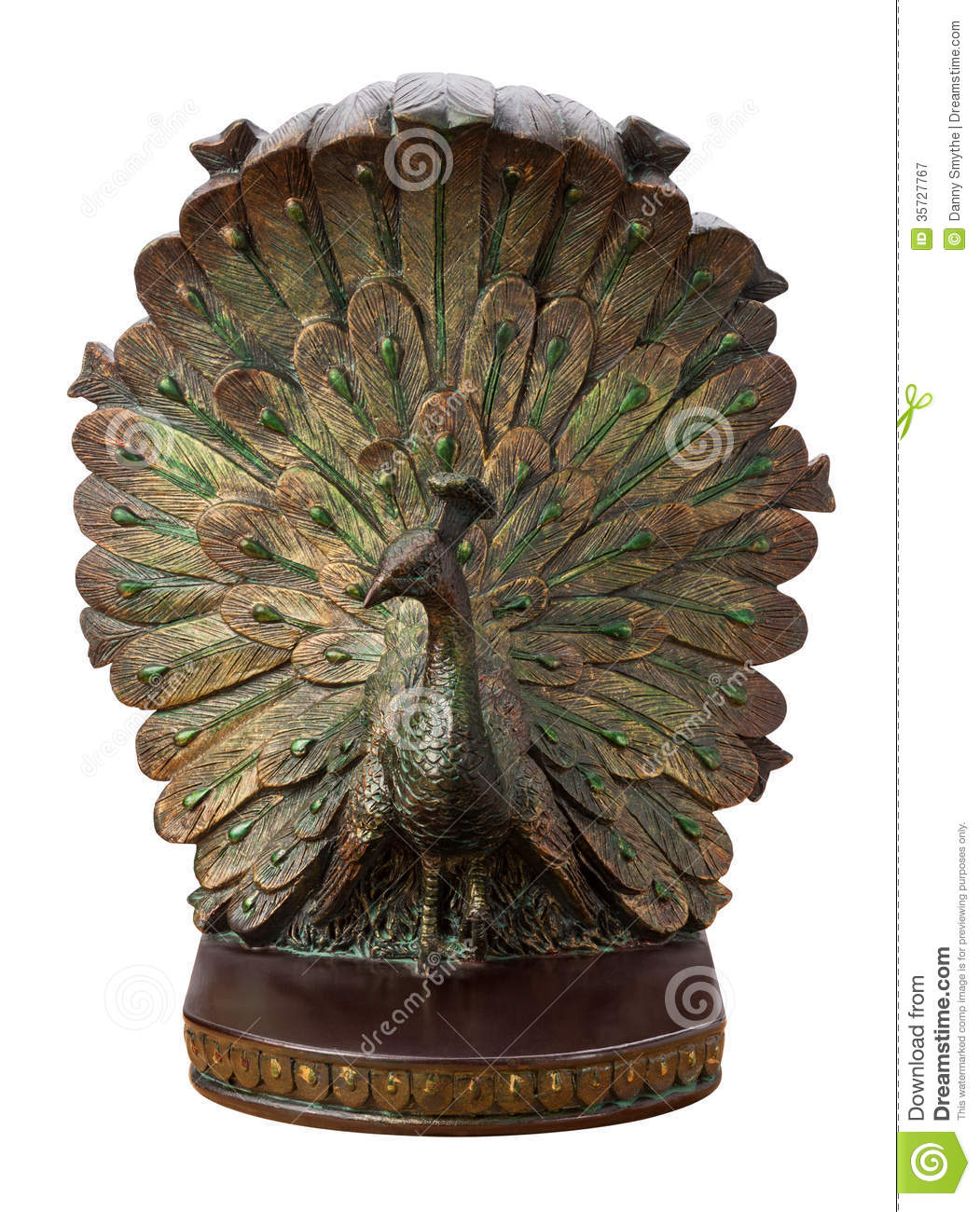 Bronze Peacock Bookend Isolated Royalty Free Stock Photography Image 35727767