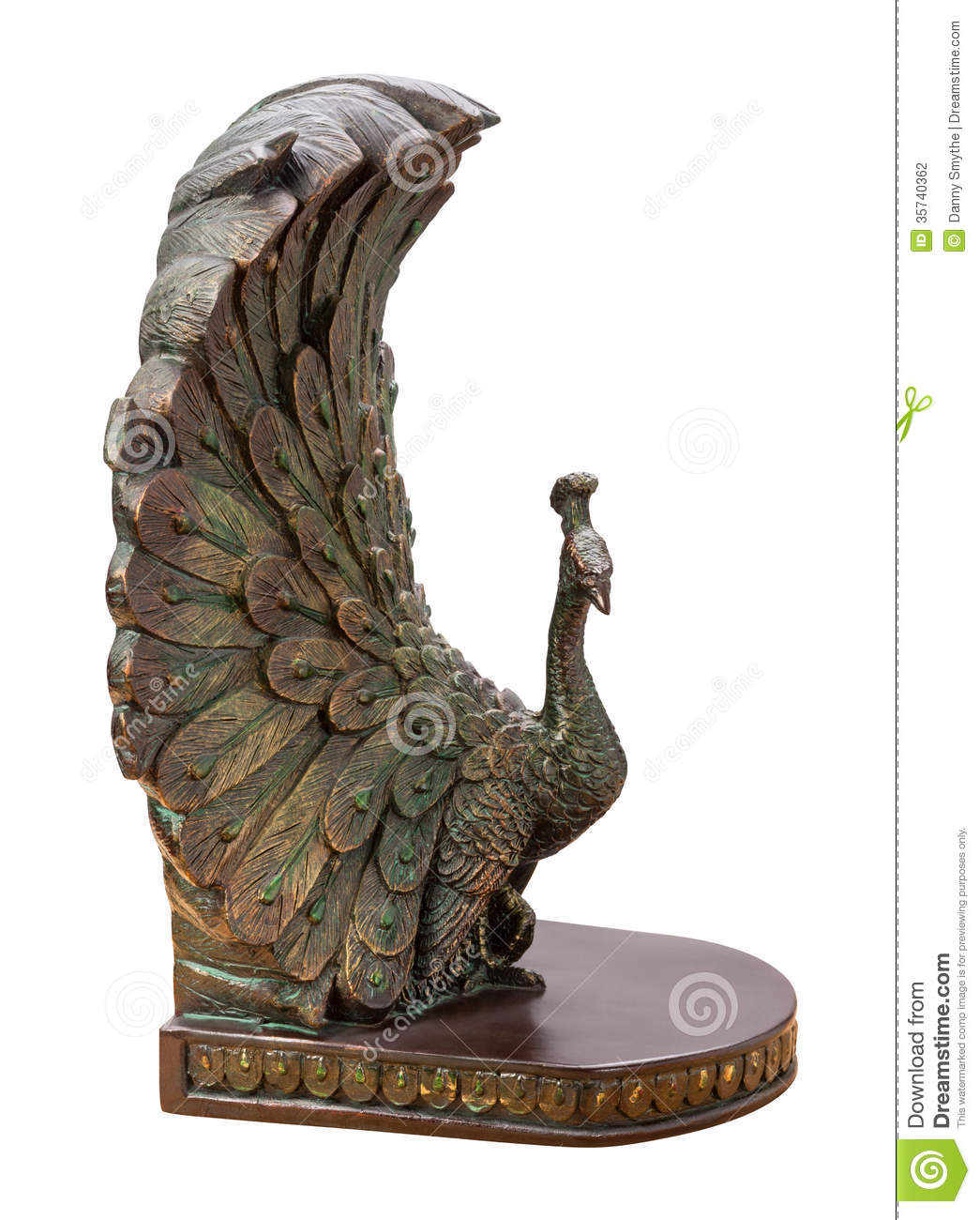 Bronze Peacock Bookend Isolated Stock Photo Image 35740362