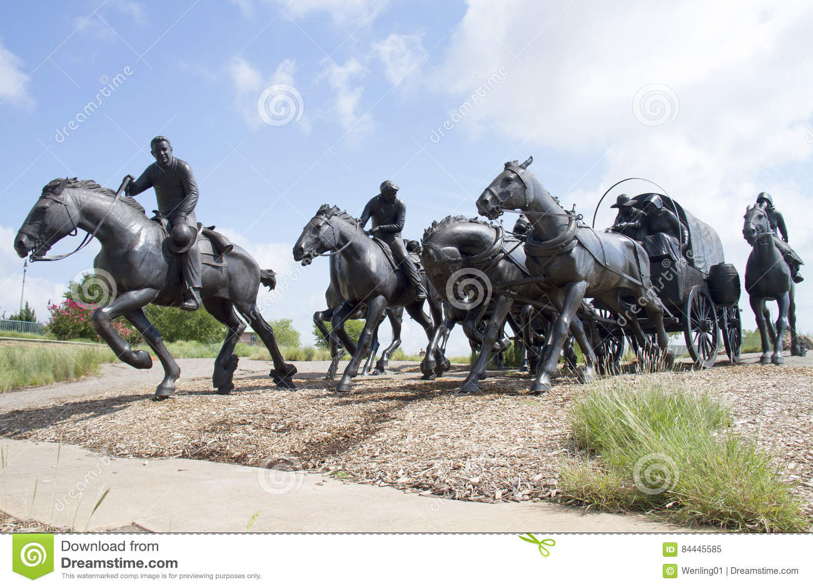 Bronze sculpture in modern city Oklahoma