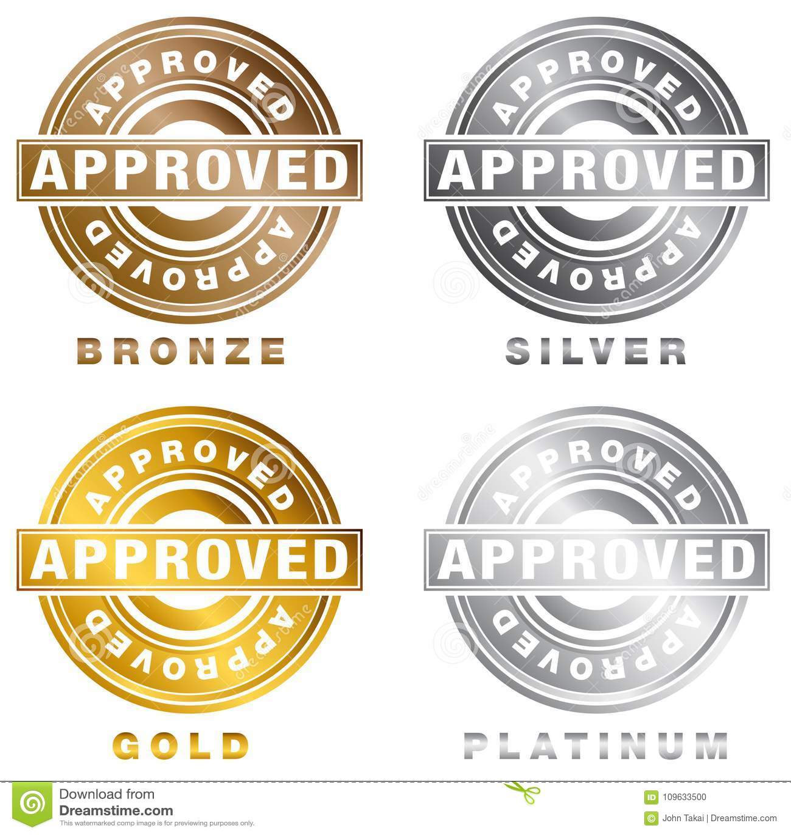 Bronze Silver Gold Platinum Approved Stamp Set Stock Vector