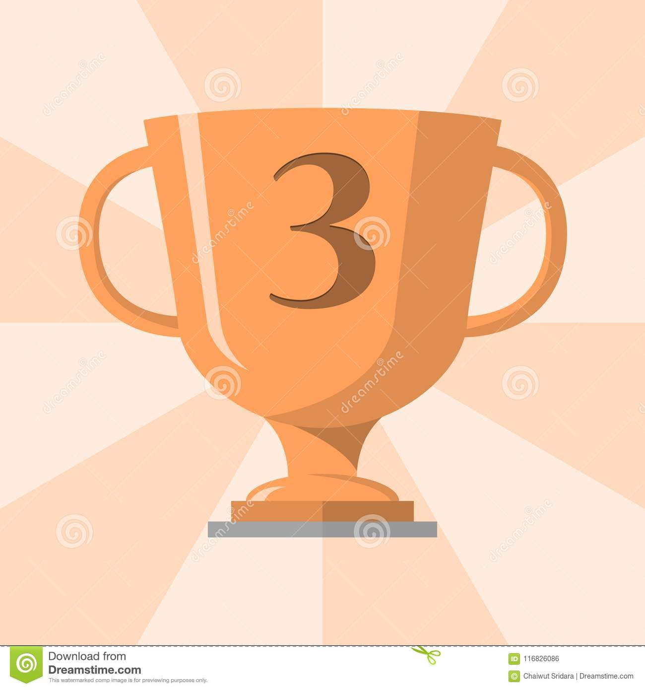 Bronze Trophy Winner Cup With 3 Symbol On The Trophy Vector Stock