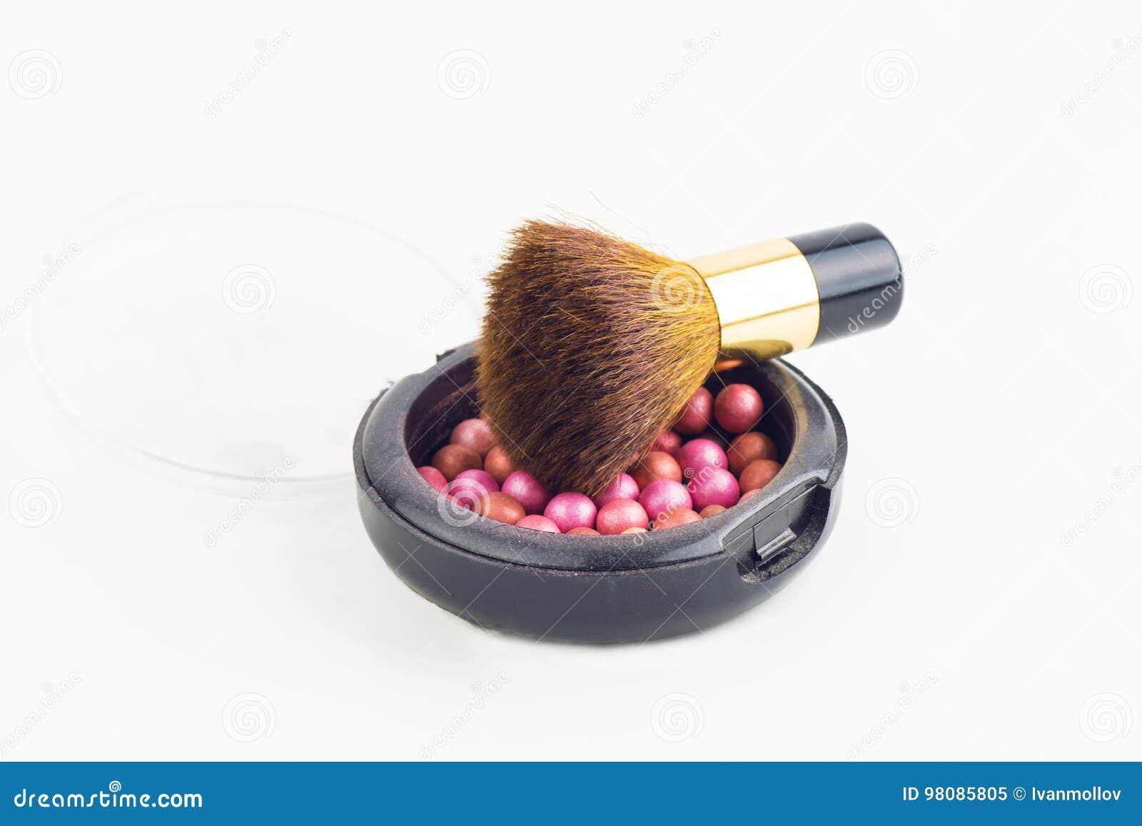bronzing pearls box and makeup brush stock image image of blush