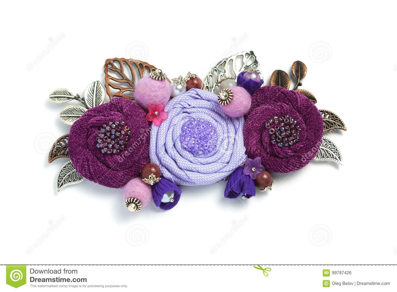 Brooch handmade from a fabric consisting of flowers of lavender and burgundy color on a white background