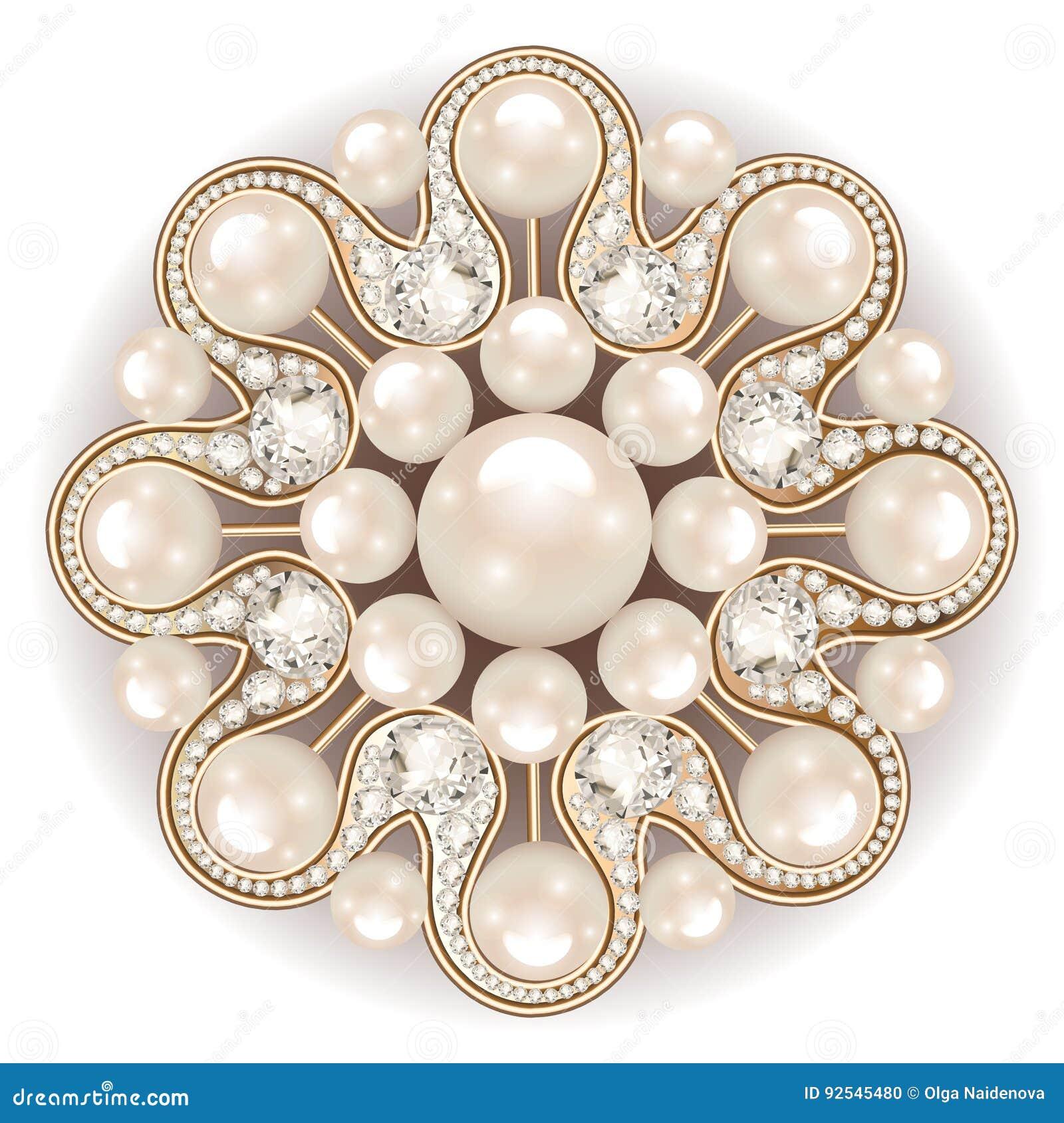 3cc85c75c7898 Brooch Jewelry, Design Element. Pearl Vintage Ornamenta Stock Vector ...