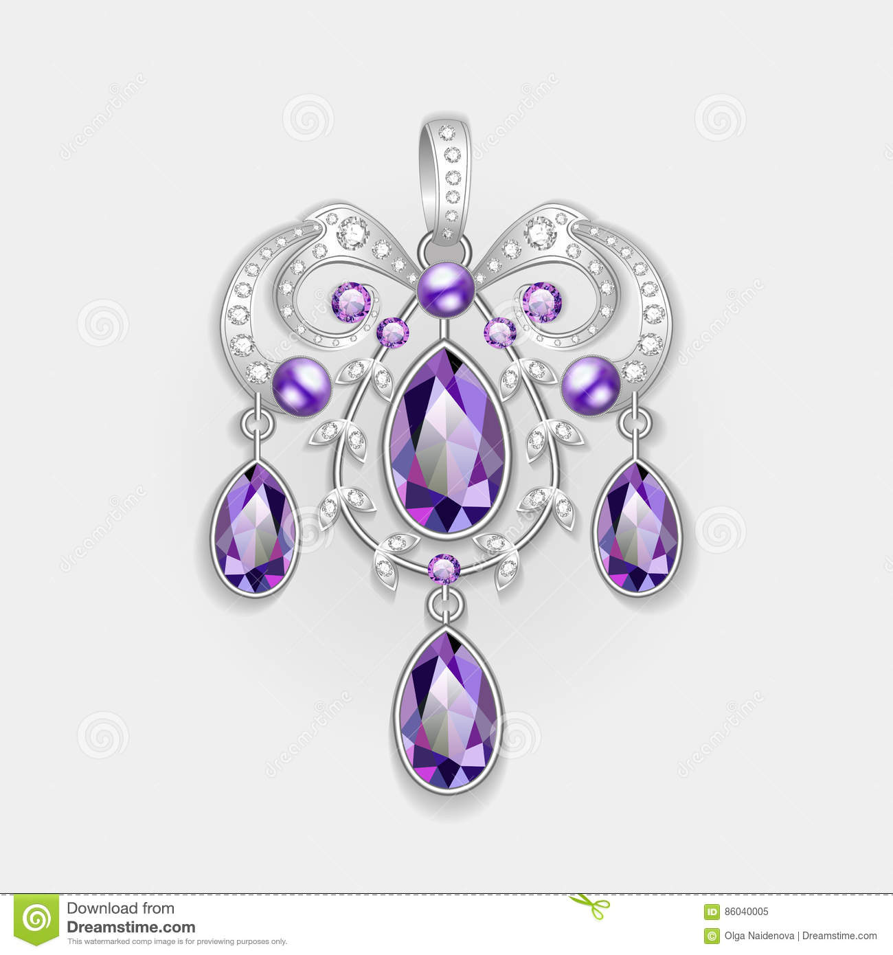 brooch pendant with and precious stones. Filigree