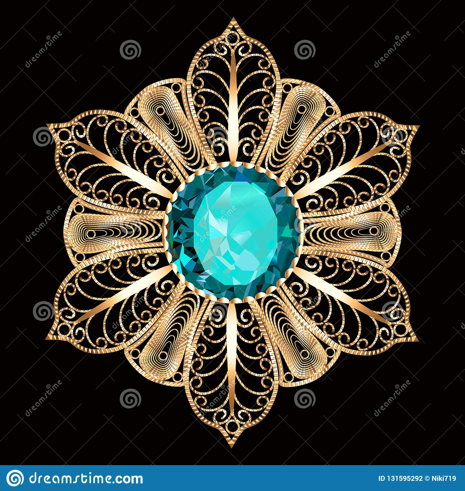 brooch pendant with and precious stones. Filigree victorian jewelry. Design element