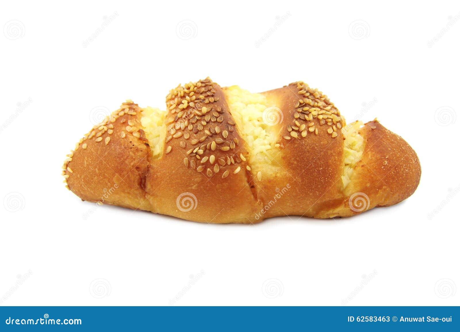 Broodbovenste laagje met knoflook en witte sesam