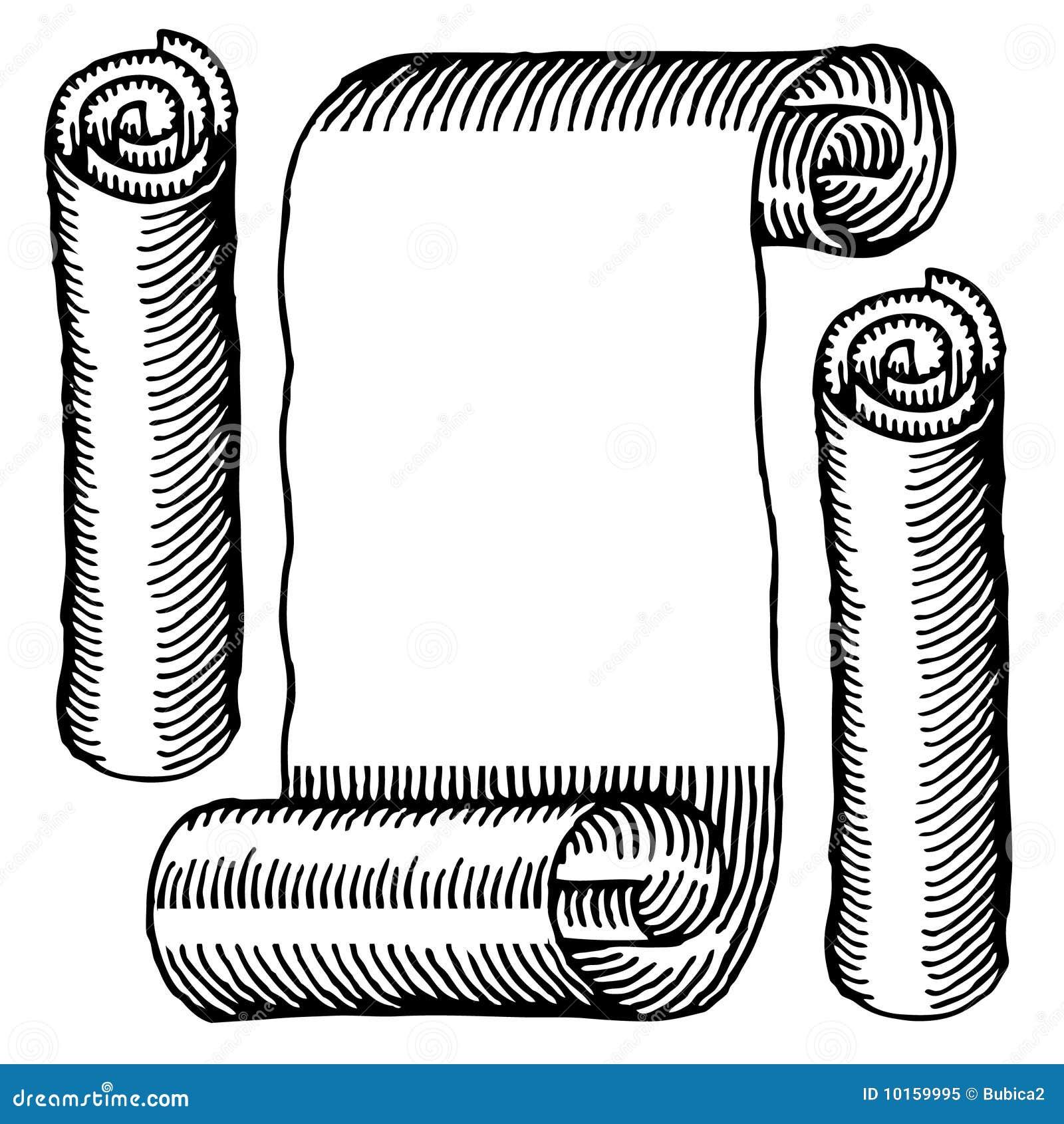 Broodjes van het document graveerden zwart-wit