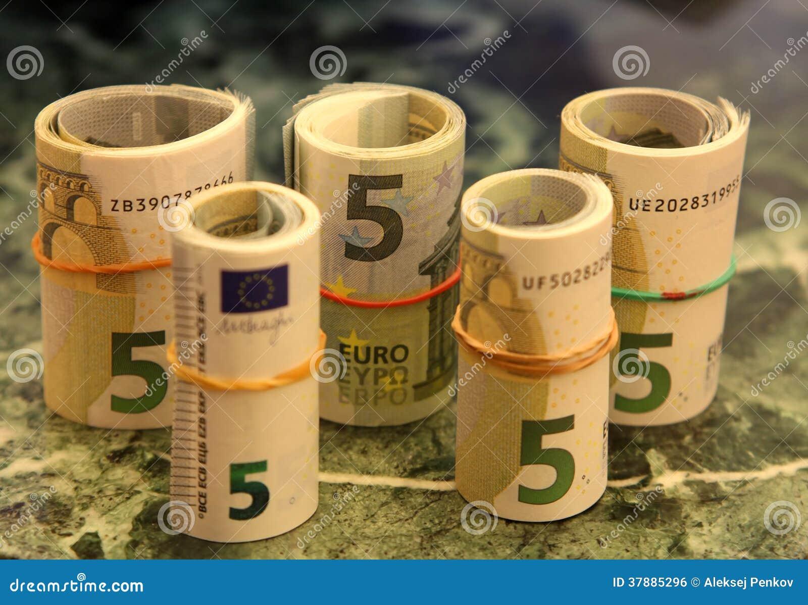 Broodjes van nota s van 5 euro