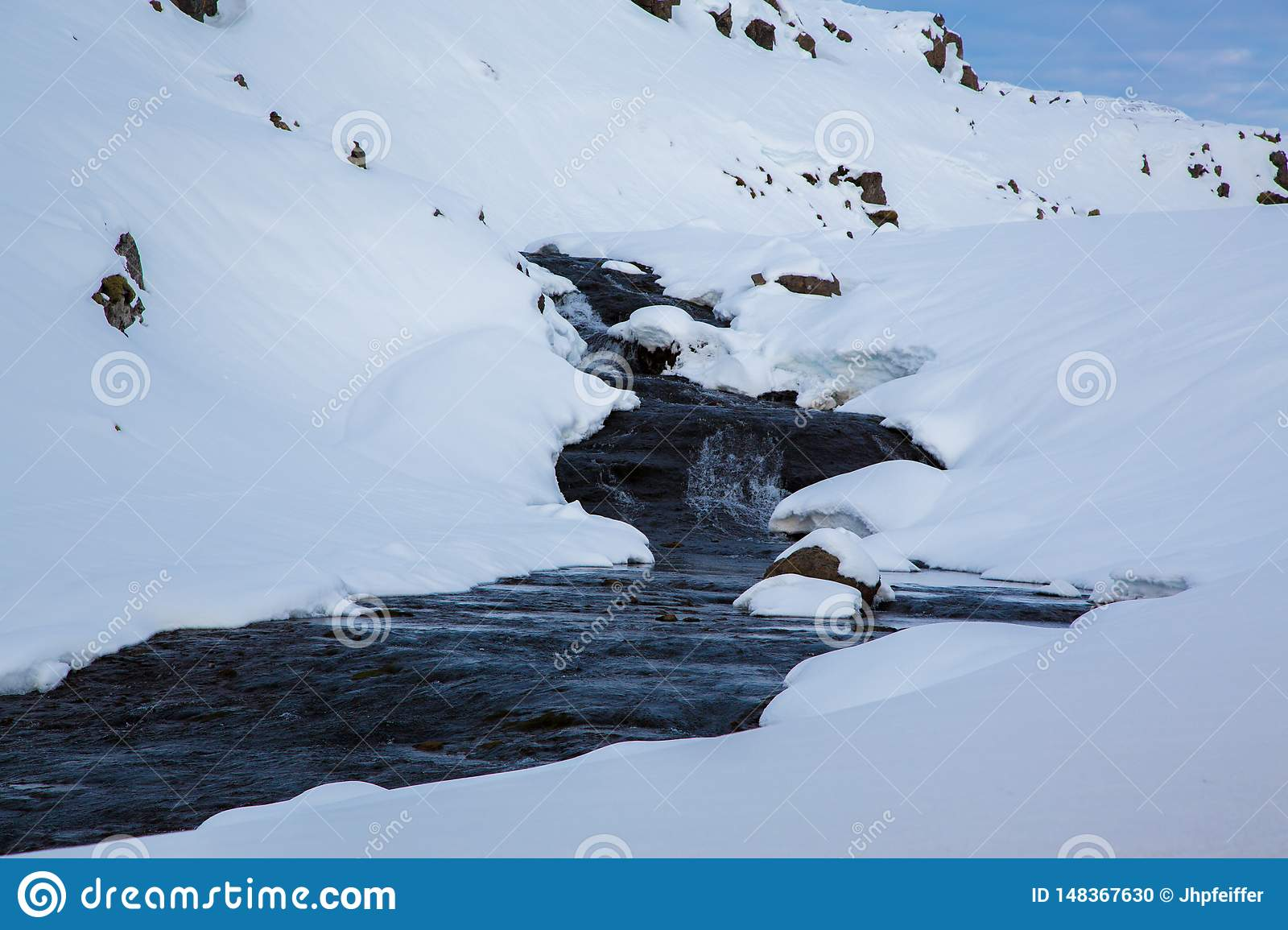 Brook in the snow in the highlands of Iceland