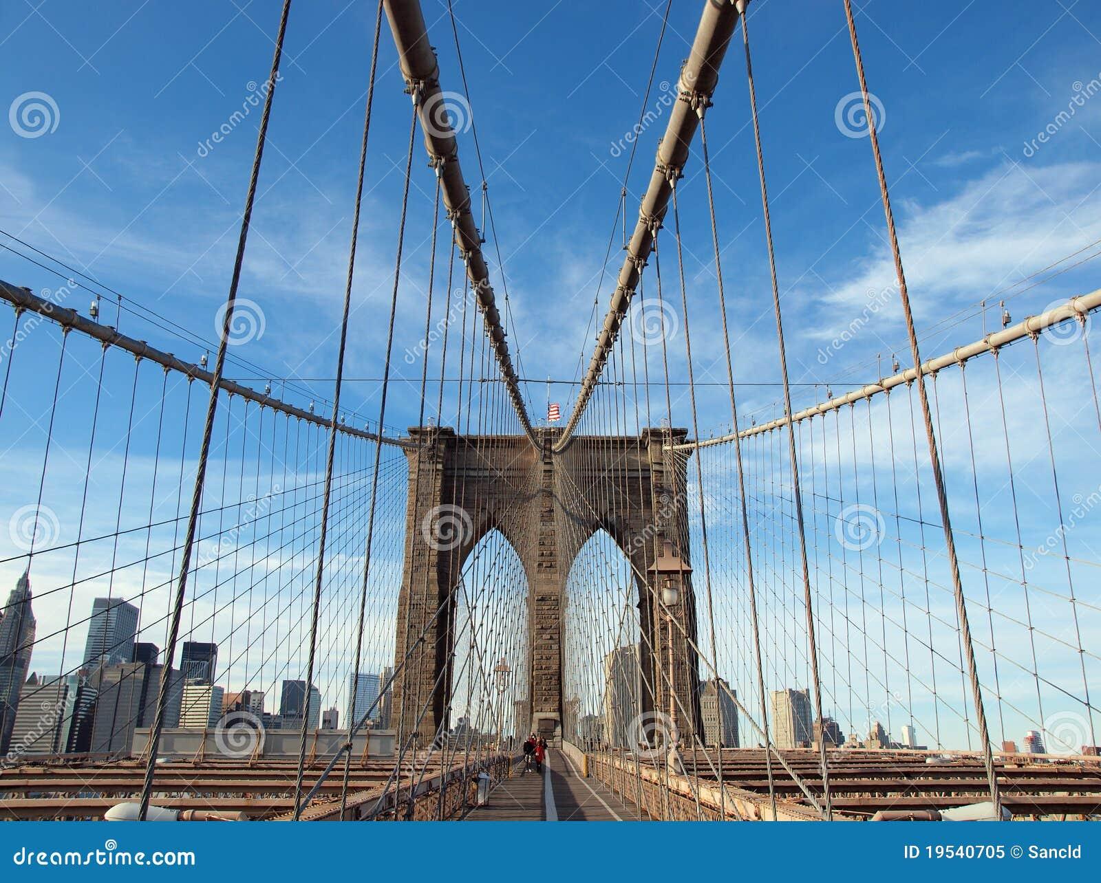 Brooklyn-Brücke, USA, Markierungsfahne, Fußgänger, Gehweg