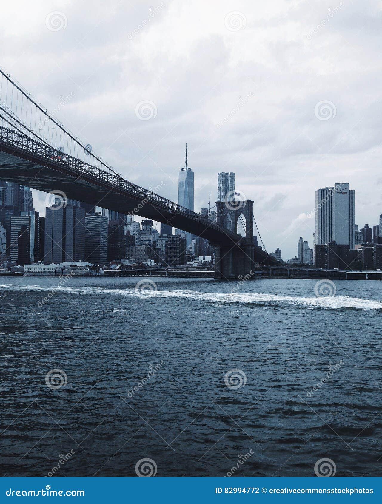Brooklyn Bridge Blue and White Photo