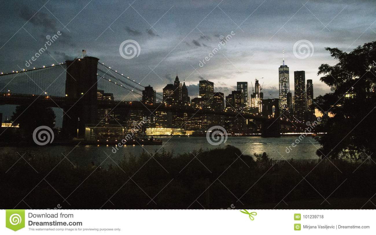 Brooklyn Bridge During The Night Time In New York City Editorial