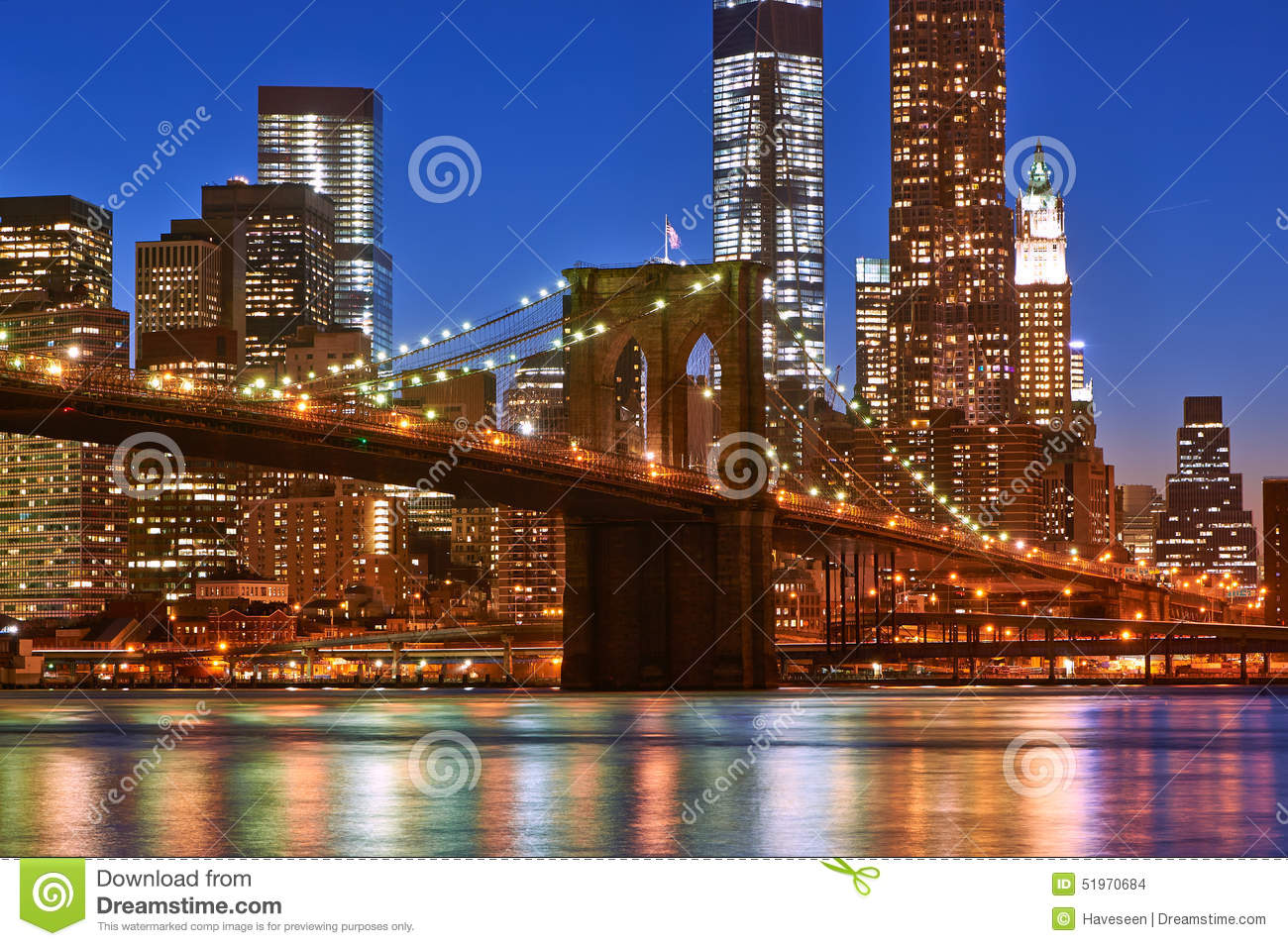brooklyn bridge with lower manhattan skyline at night stock photo image 51970684. Black Bedroom Furniture Sets. Home Design Ideas